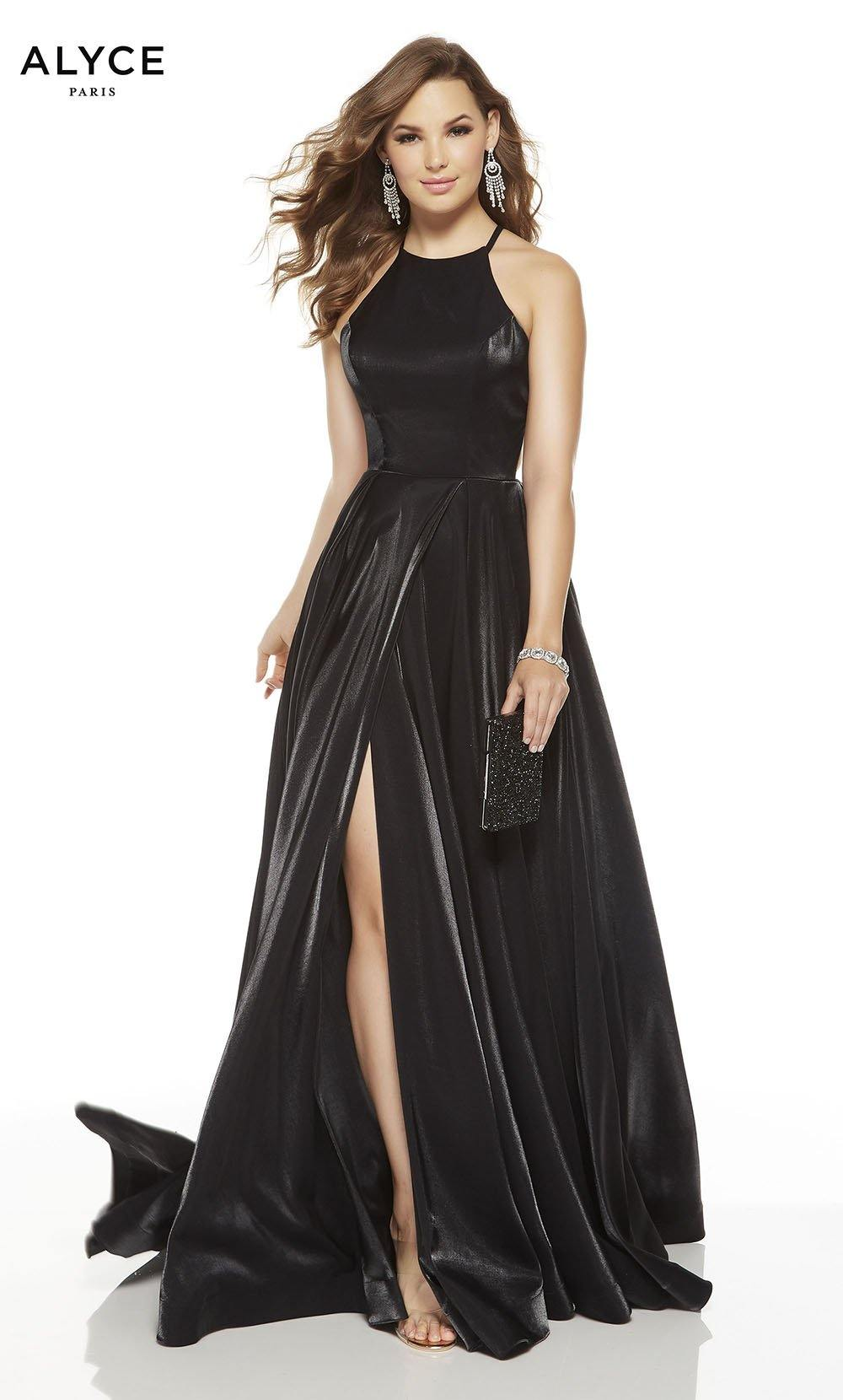 Black red-carpet dress with a halter neckline and a slit