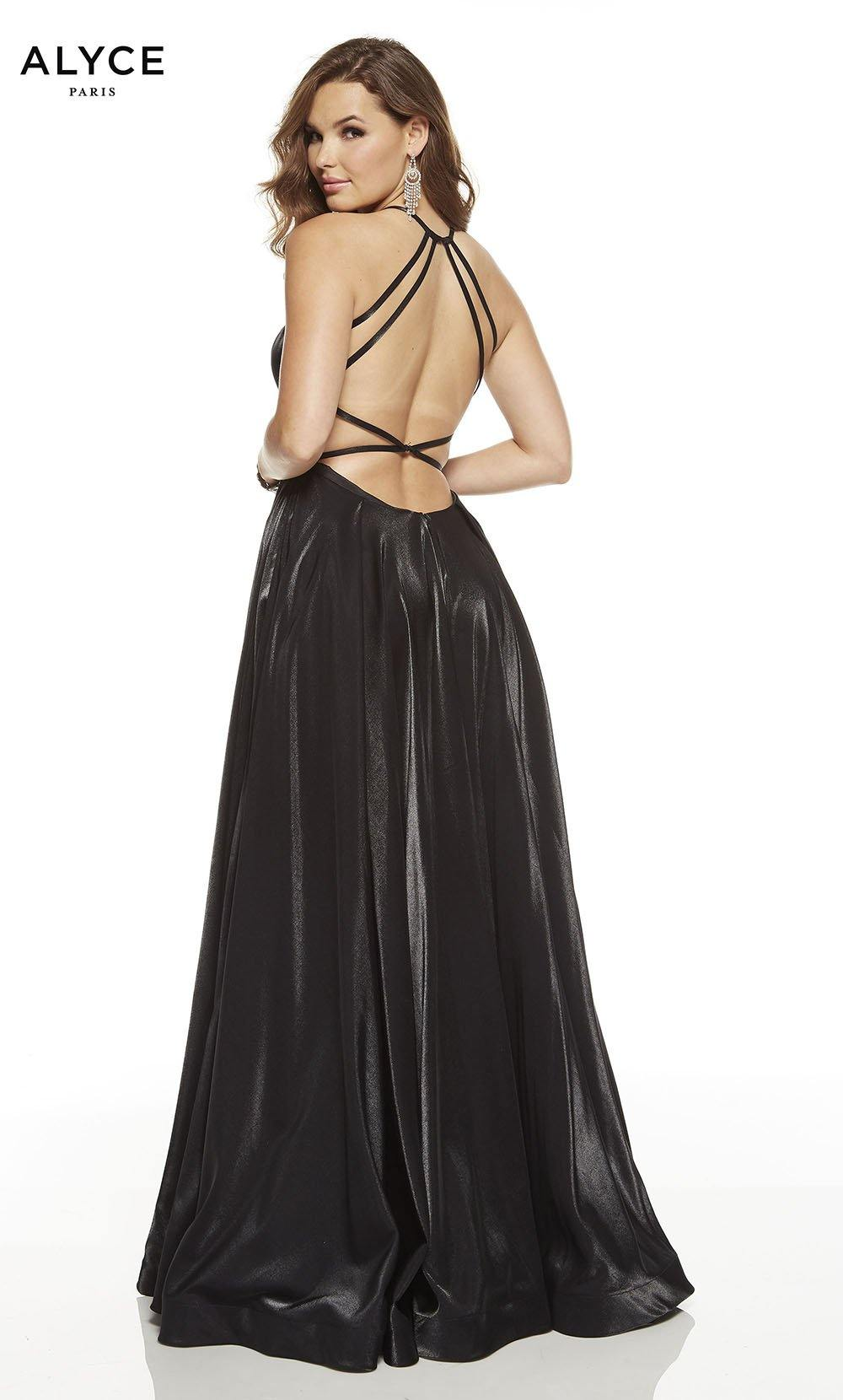 Black red-carpet dress with a strappy back