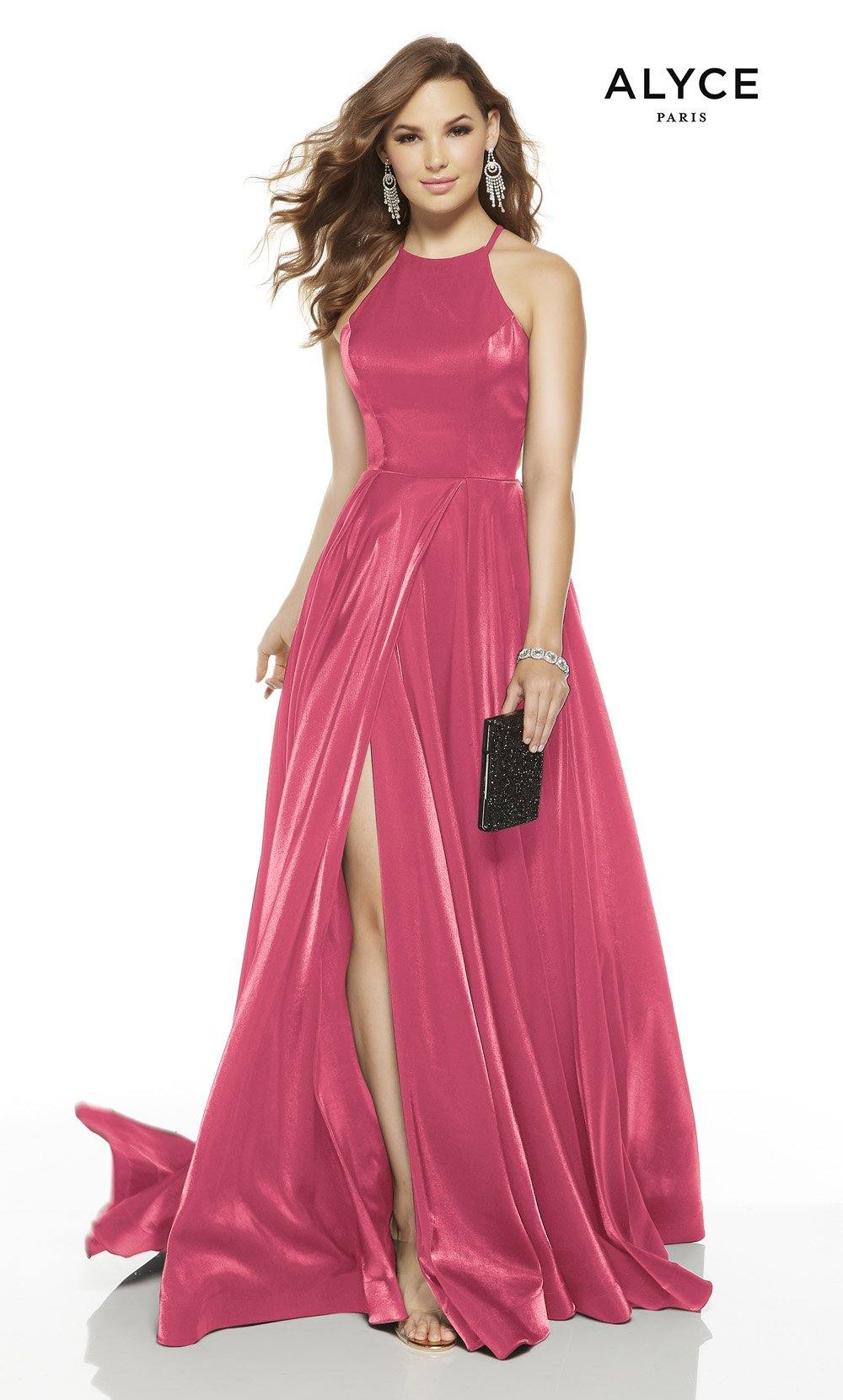 Bubblegum red-carpet dress with a halter neckline and a slit