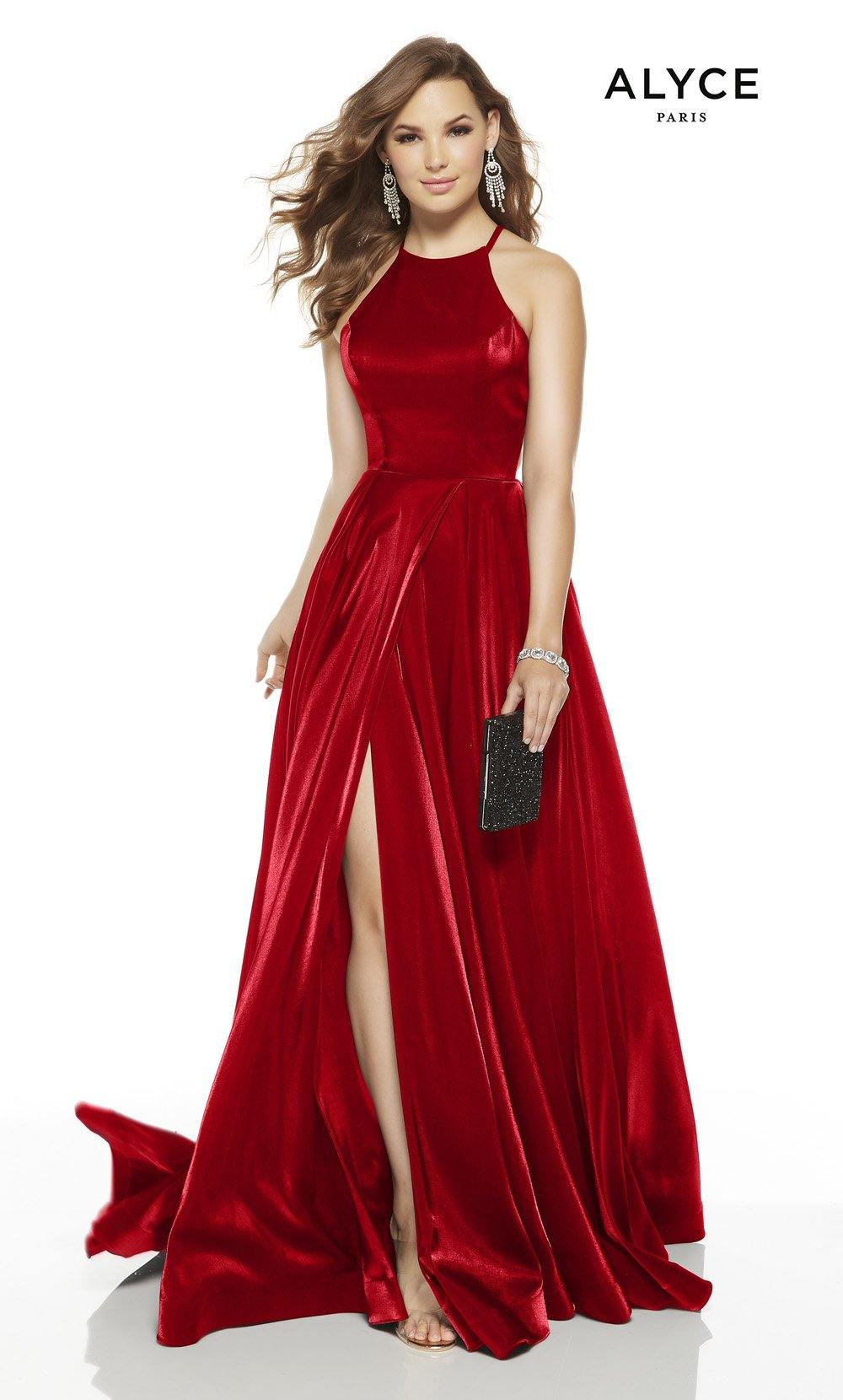 Red formal dress with a halter neckline and a slit