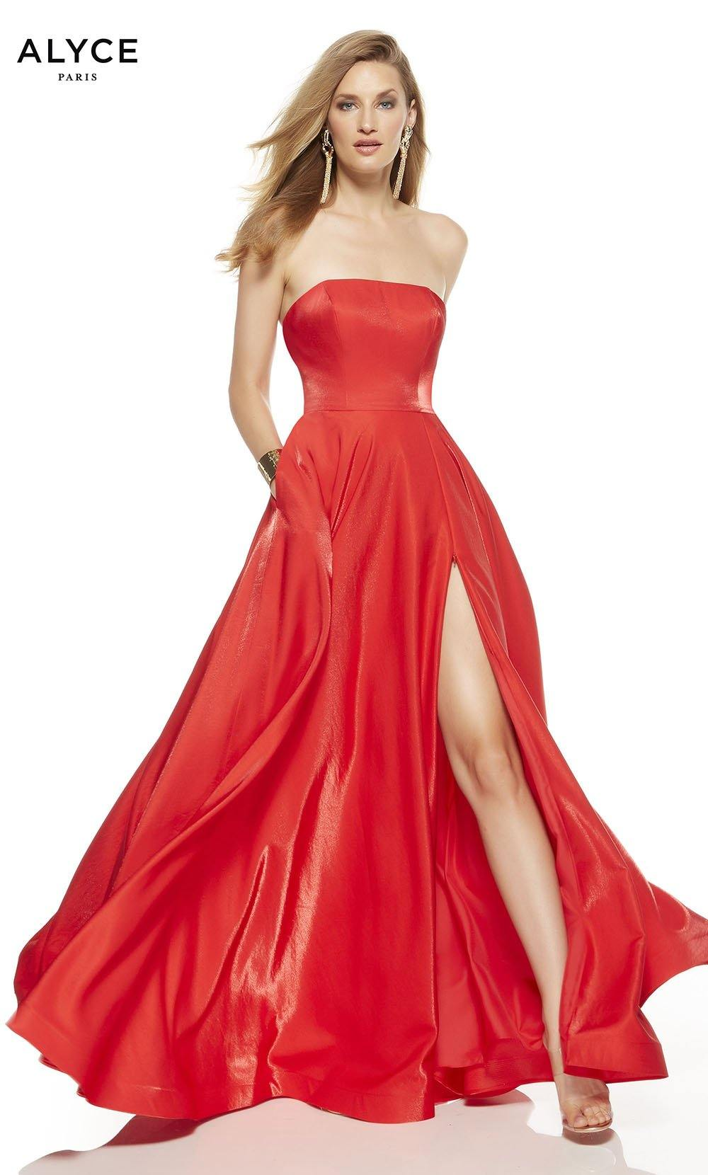 Lipstick Red strapless formal dress with a slit and pockets