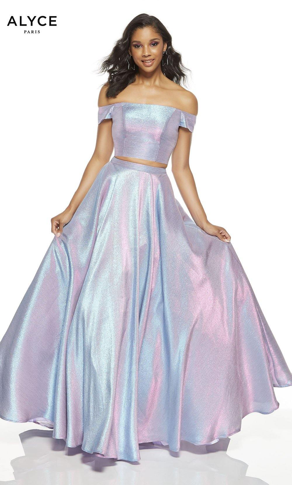 Unicorn (Violet) metallic off the shoulder two piece prom dress