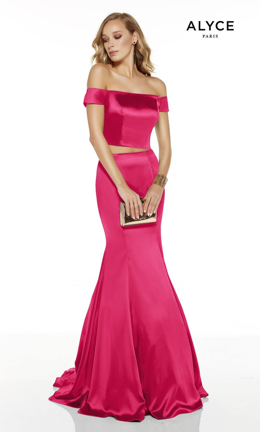 Barbie Pink off the shoulder two piece mermaid prom dress