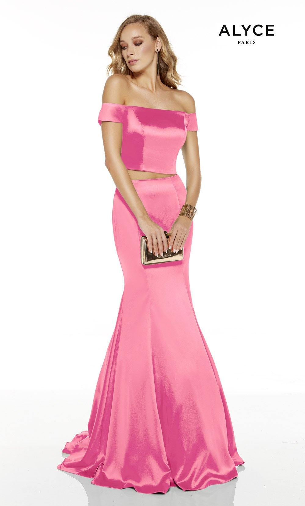 Bubblegum off the shoulder two piece mermaid prom dress