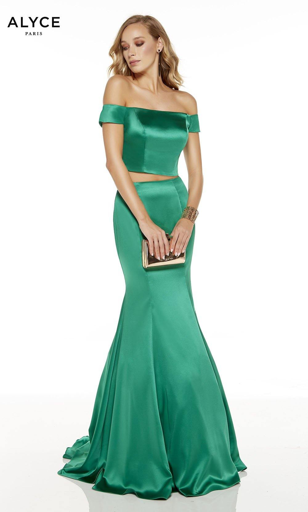 Emerald off the shoulder two piece mermaid prom dress
