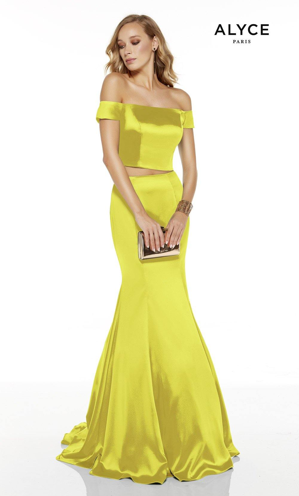 Limoncello off the shoulder two piece mermaid prom dress