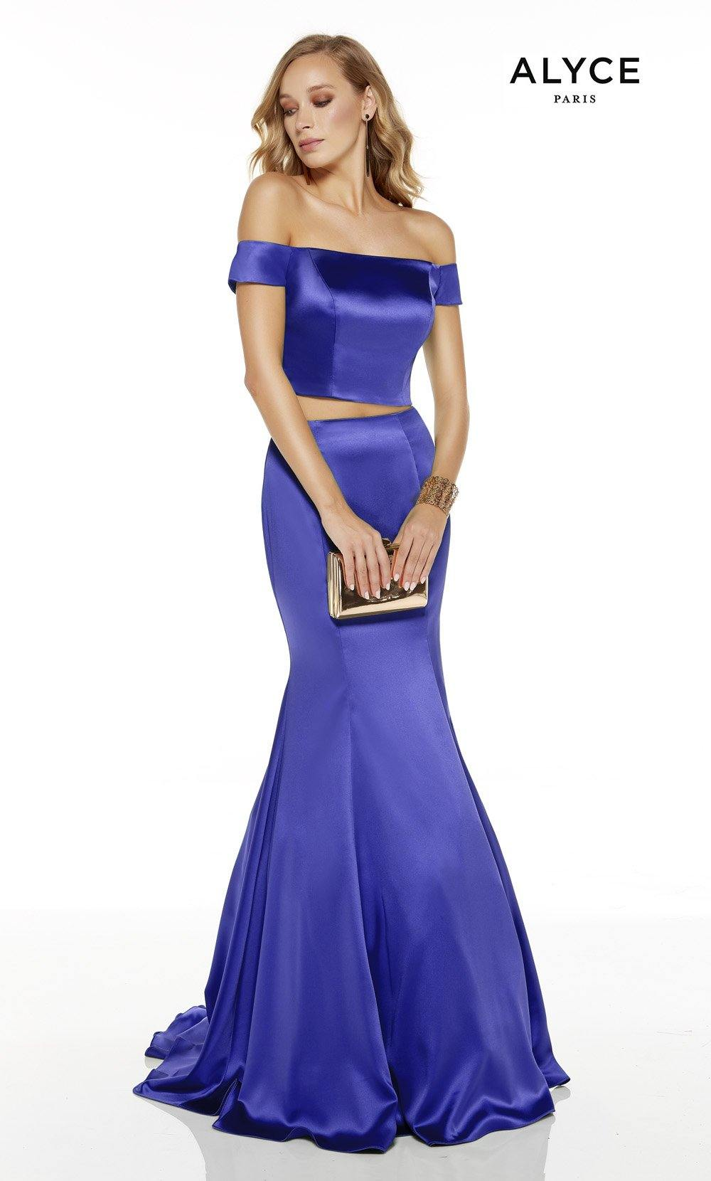Royal off the shoulder two piece mermaid prom dress