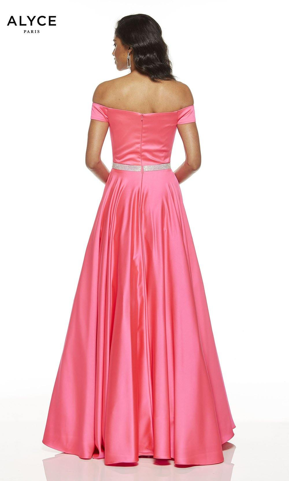Barbie Pink off the shoulder  formal dress with an enclosed back