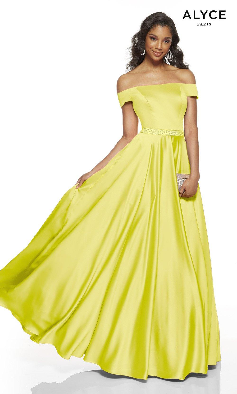 Limoncello off the shoulder formal dress