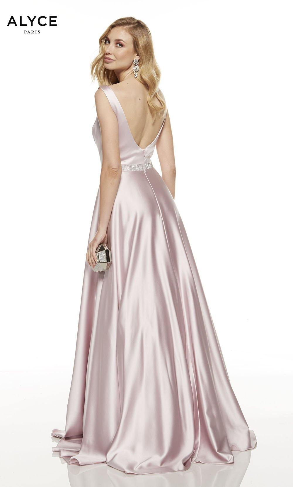 Chalk pink formal dress with a v-shaped back