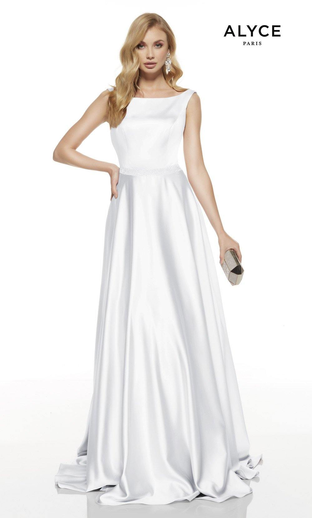 Diamond White formal dress with a bateau neckline