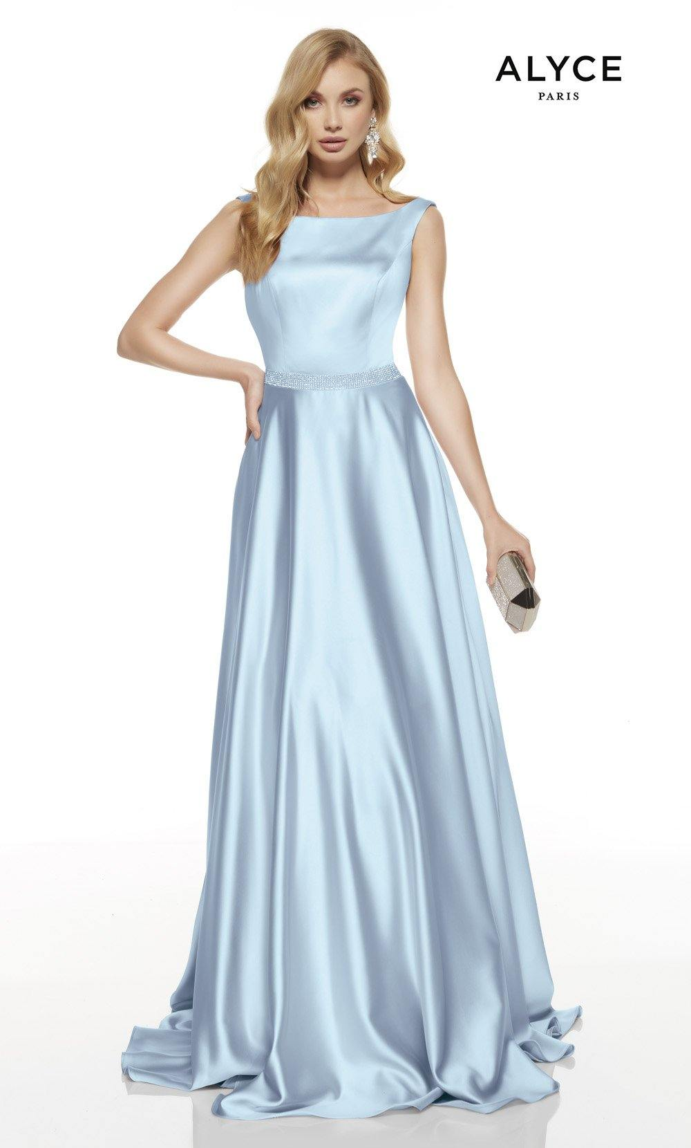 Ice Blue formal dress with a bateau neckline