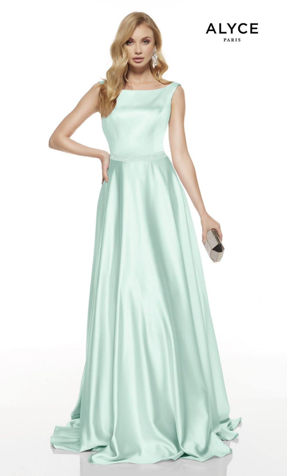 Sea Glass formal dress with a bateau neckline