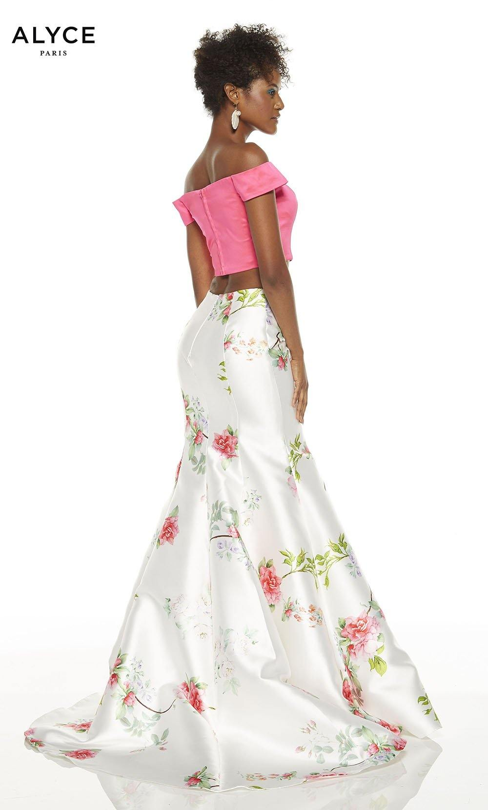 Off the shoulder two piece prom dress with Barbie Pink crop top and a floral mermaid skirt