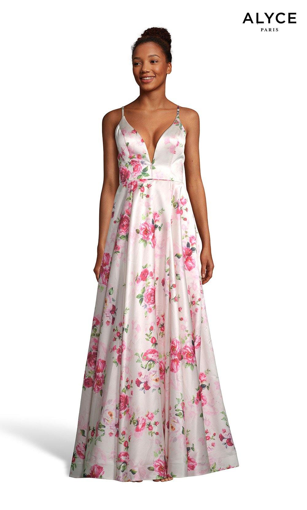 Blush-Rose prom dress with floral print and a plunging neckline