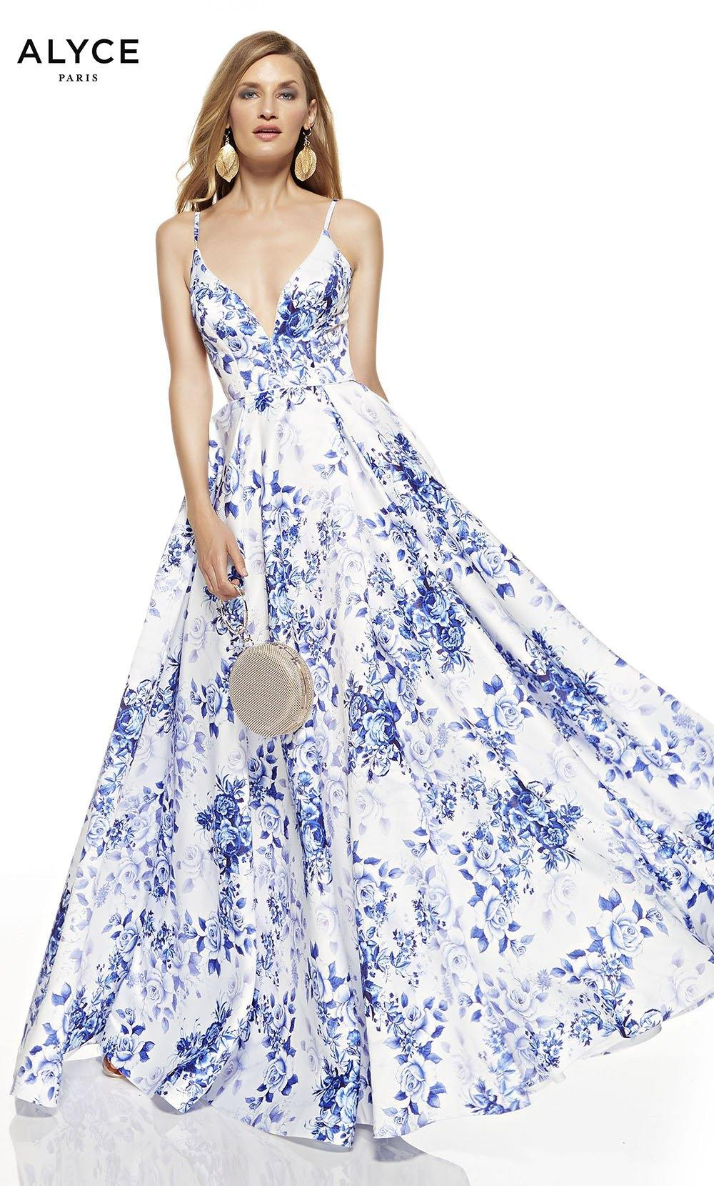 Diamond White-Royal prom dress with floral print and a plunging neckline
