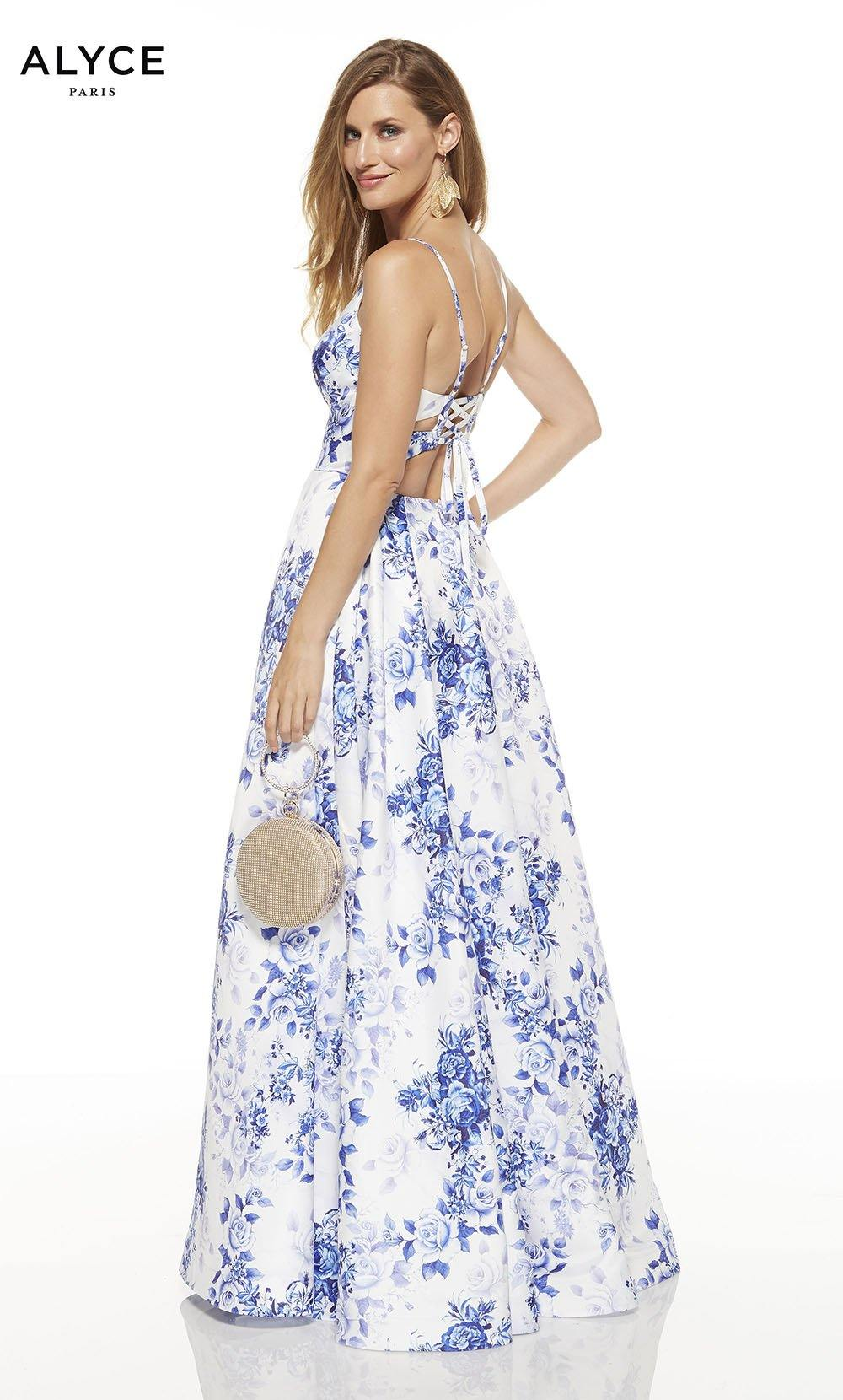 Diamond White-Royal prom dress with floral print and a strappy back