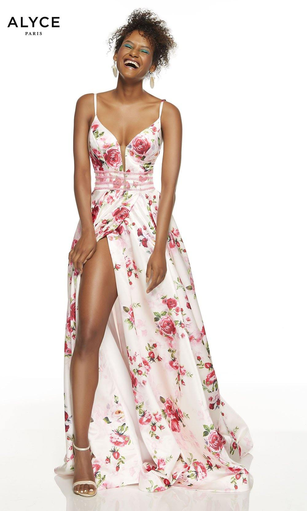Blush-Rose formal dress with  floral print and high slit
