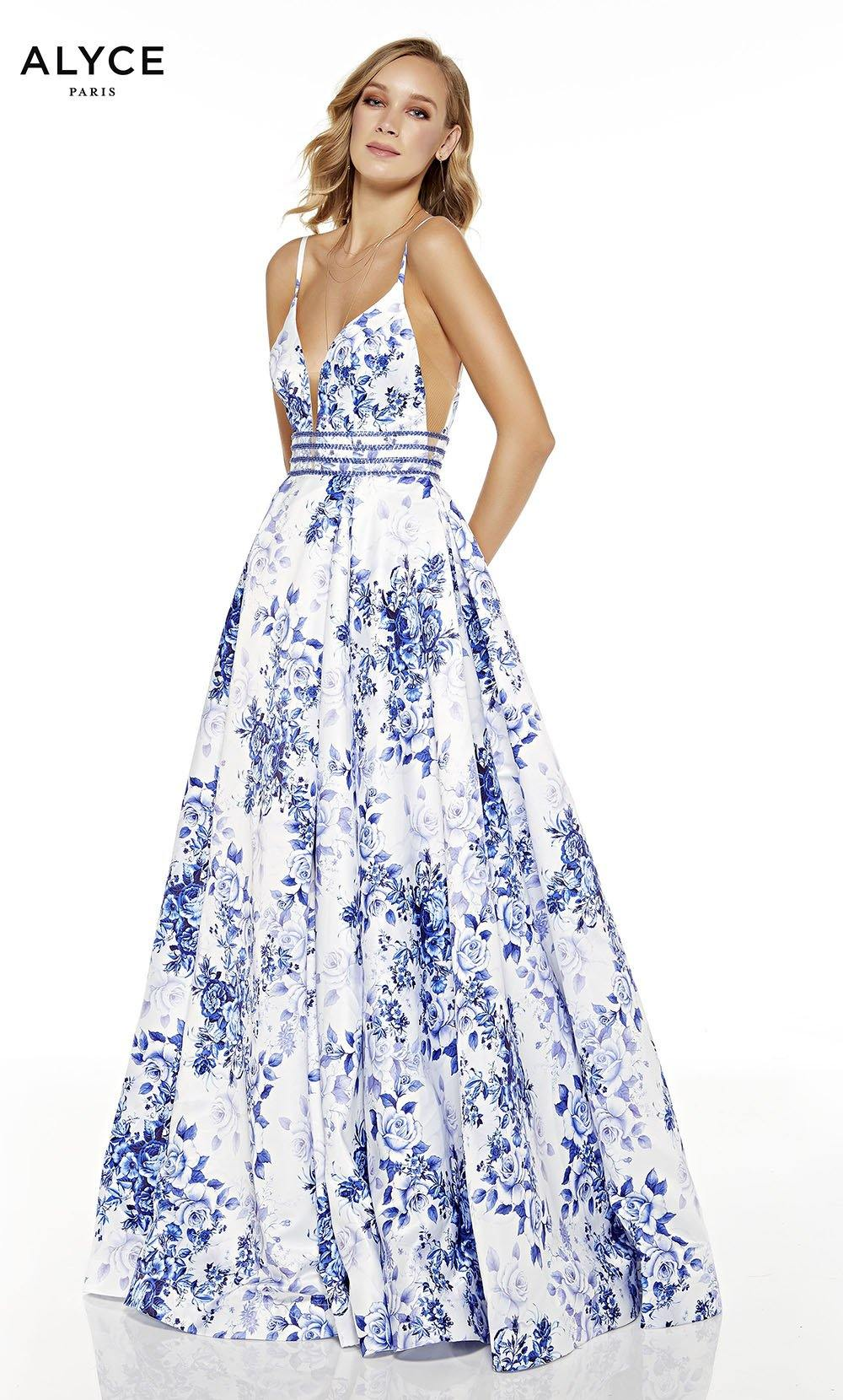 Diamond White-Royal formal dress with  floral print and high slit