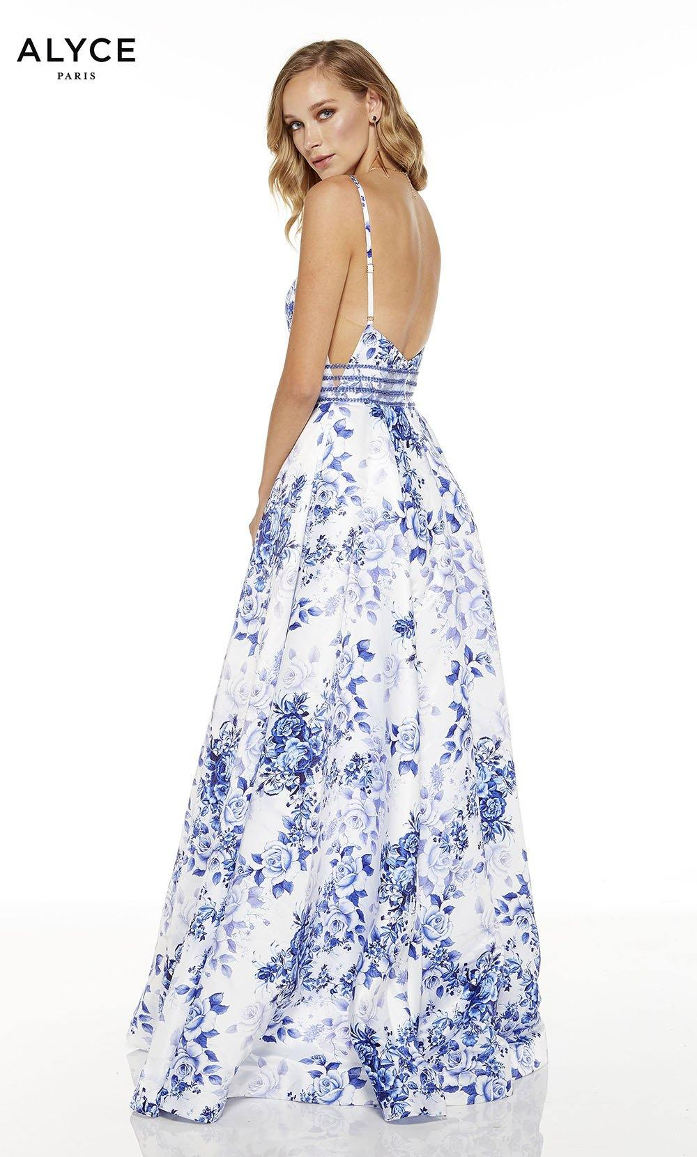 Diamond White-Royal formal dress with floral print and open back