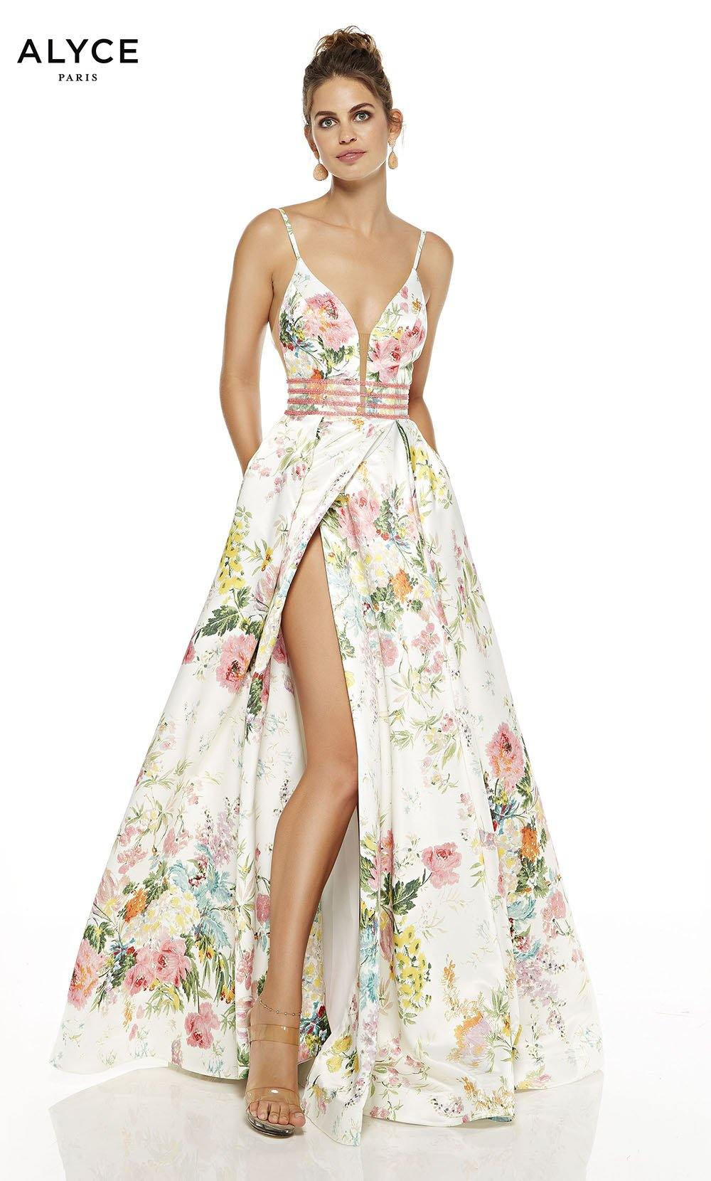 Wildflower formal dress with  floral print and high slit