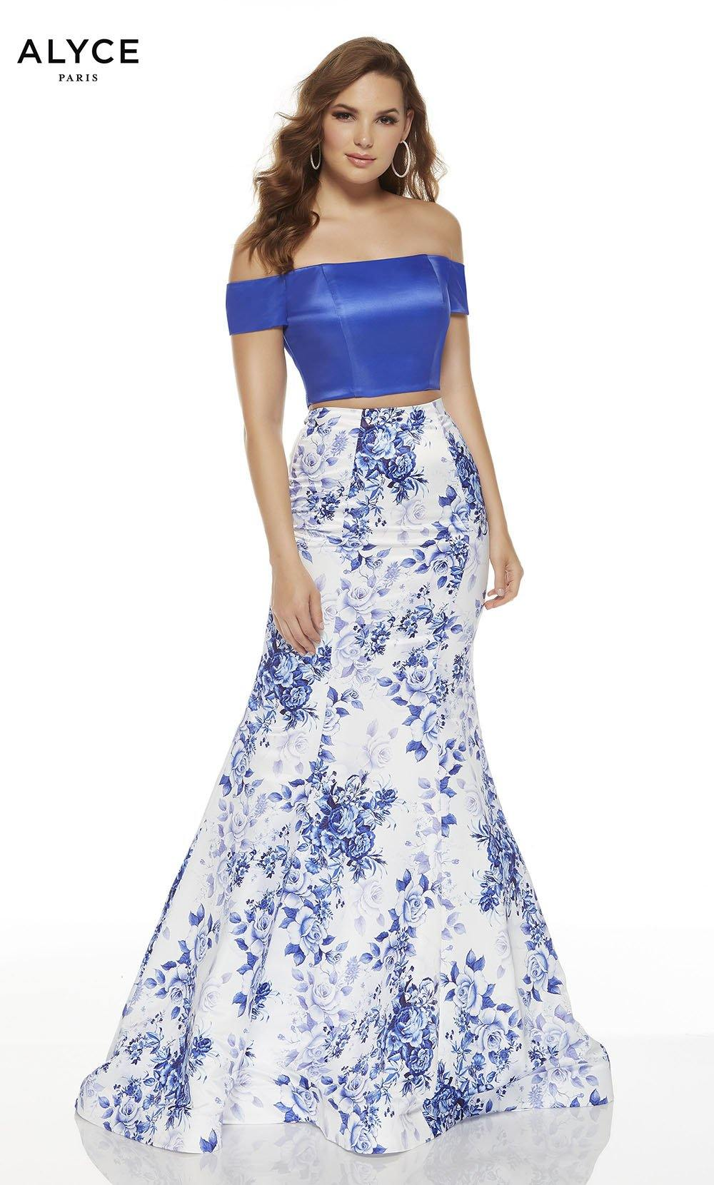 Diamond White-Royal off the shoulder two piece formal dress with a crop top and floral skirt