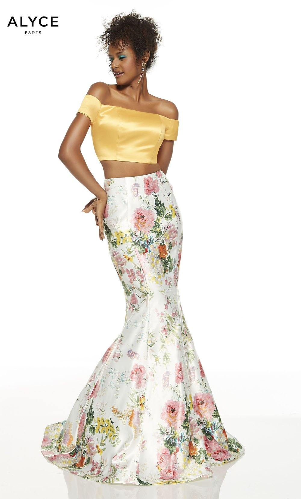 Wildflower-Marigold off the shoulder two piece formal dress with a crop top and floral skirt