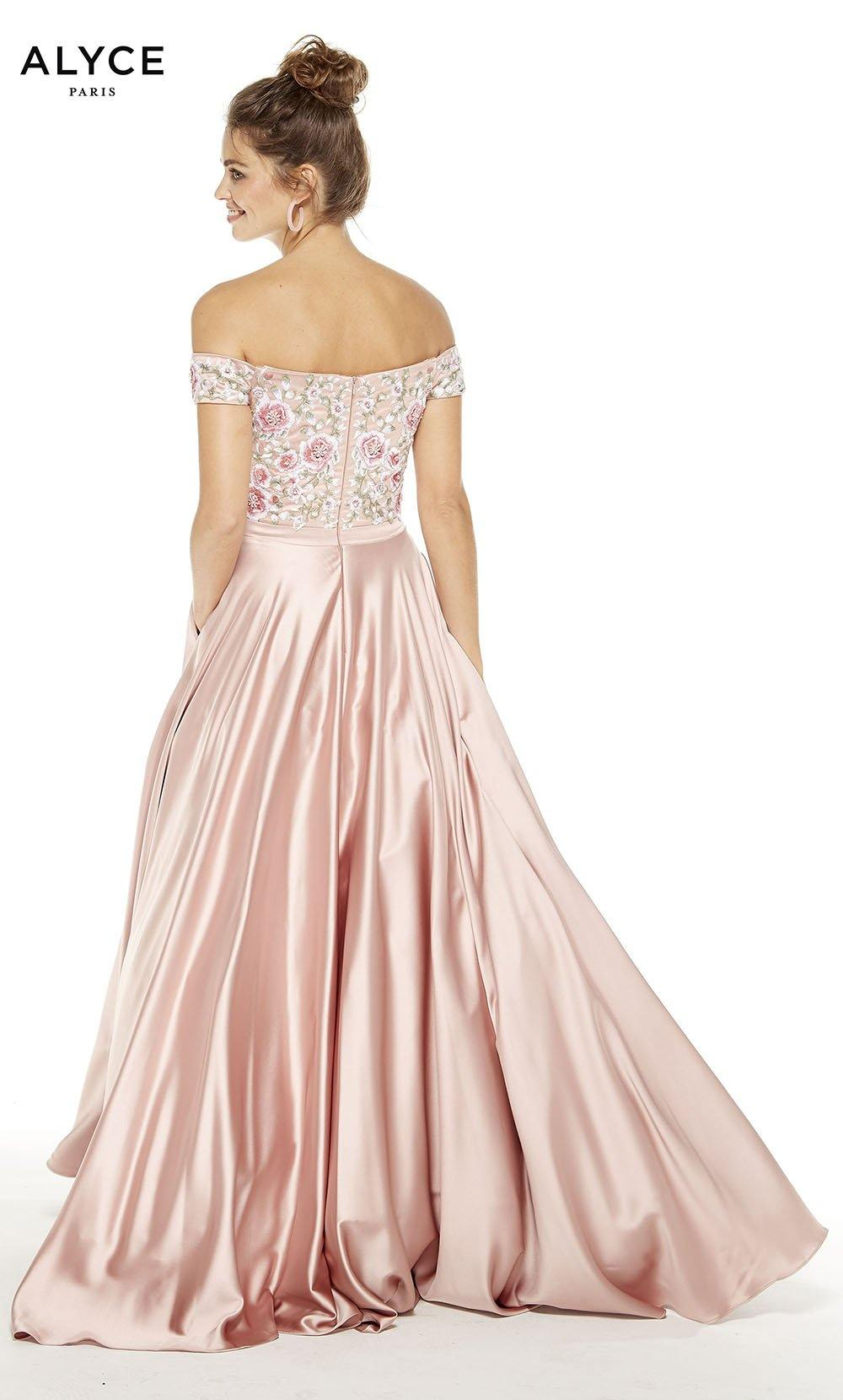 Rose Gold prom dress with floral embroidery on bodice and an off the shoulder neckline
