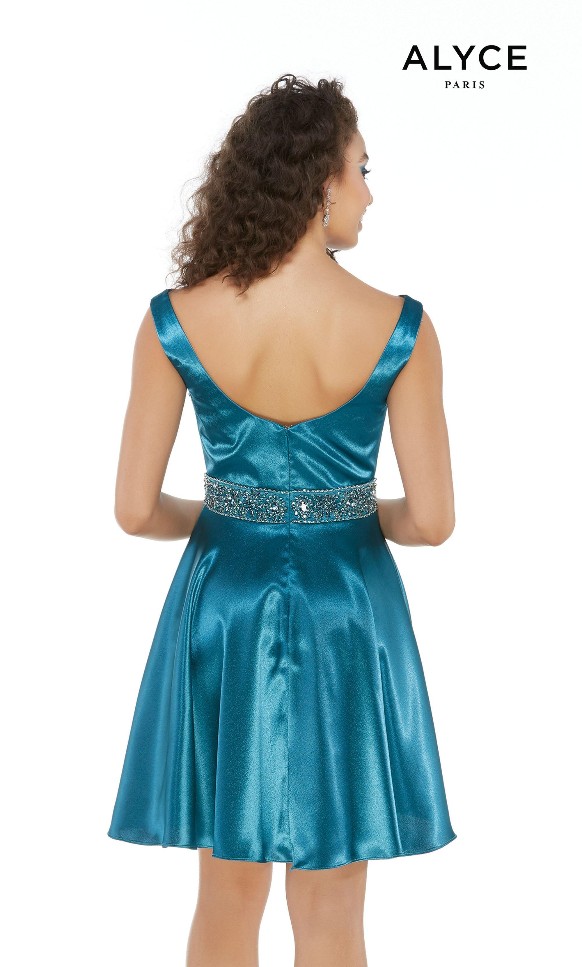 Short Dragonfly colored satin semi-formal dress with a bateau neckline and a beaded belt