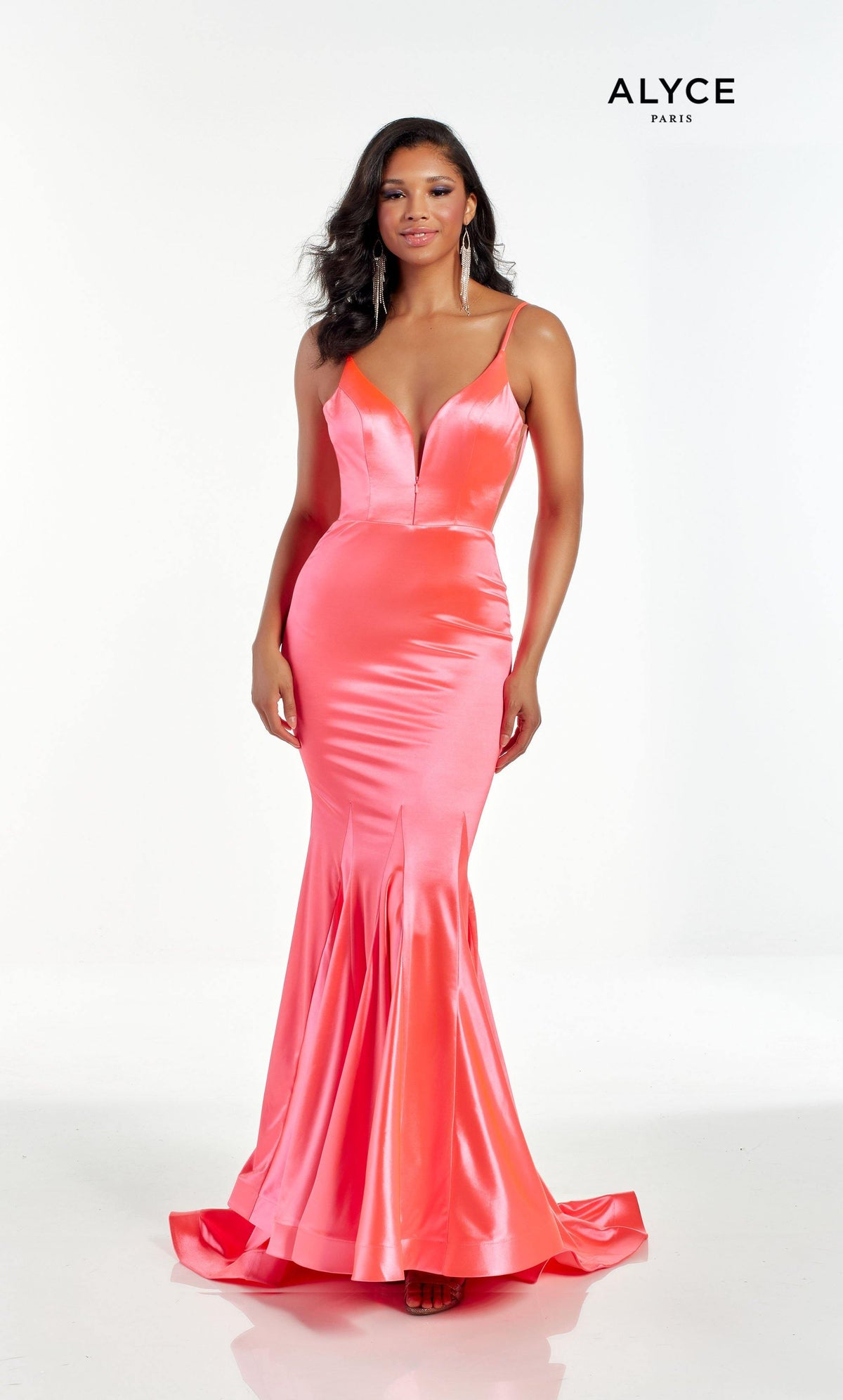 Hyper Pink fit and flare prom dress with an adjustable plunging neckline