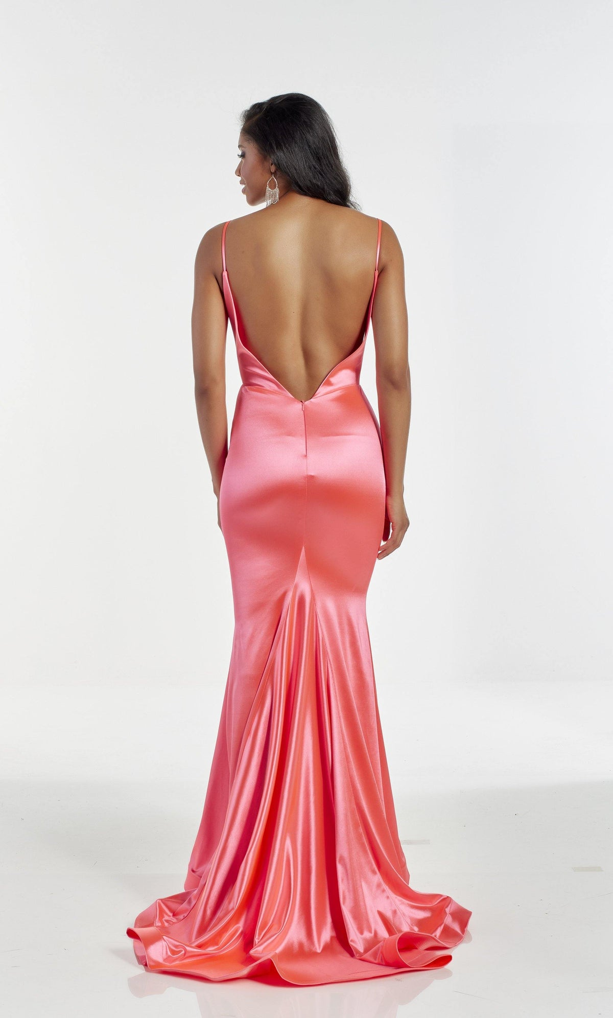 Hyper Pink fit and flare prom dress with a train