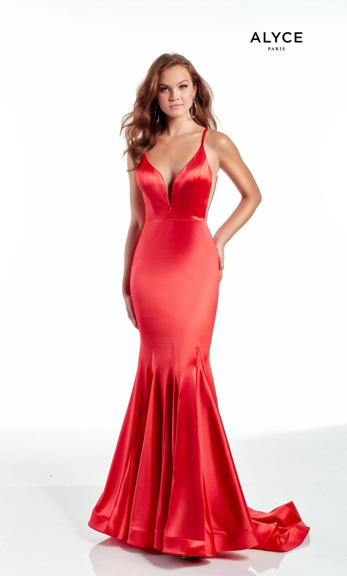 Red fit and flare prom dress with an adjustable plunging neckline