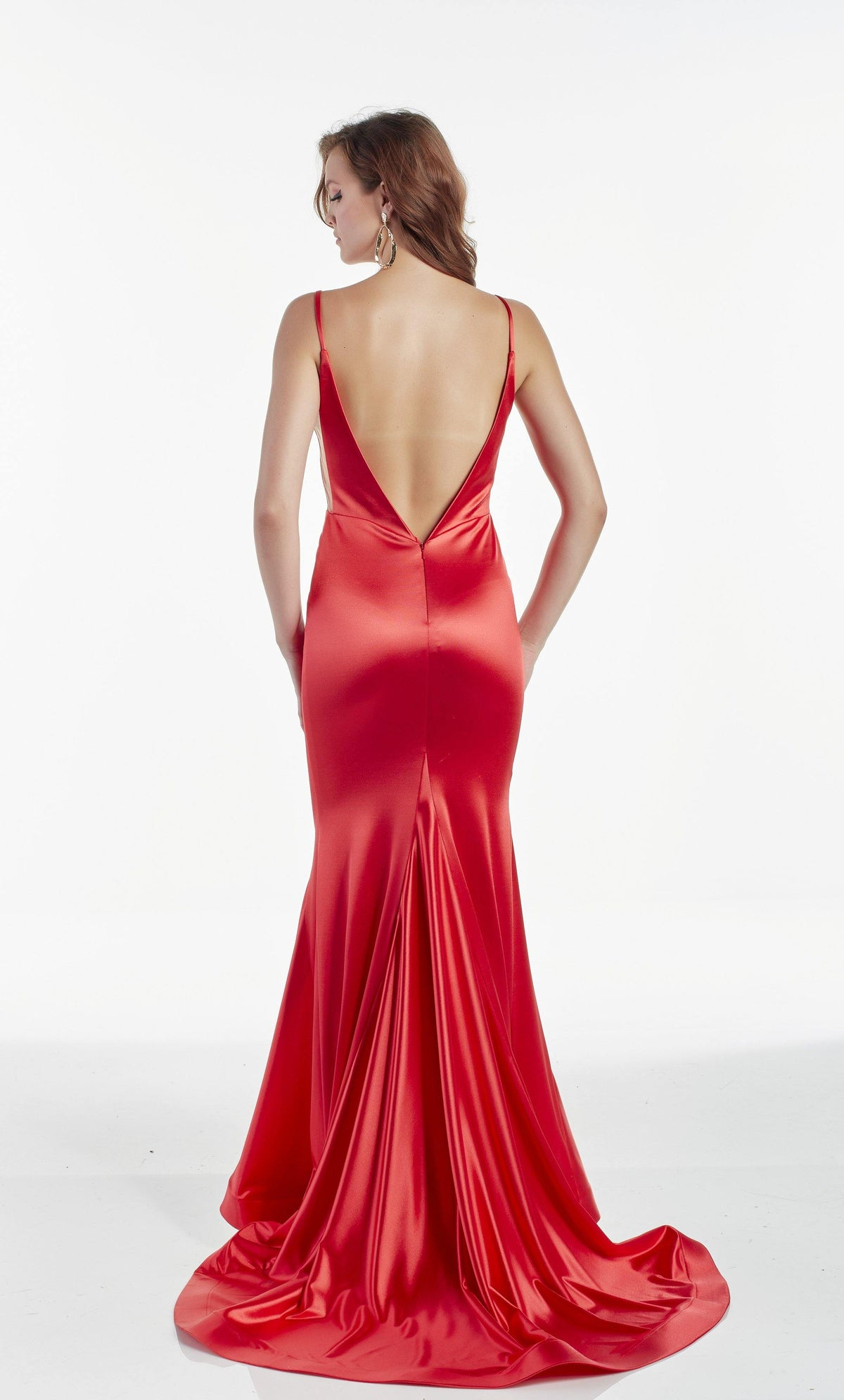 Red fit and flare prom dress with a train