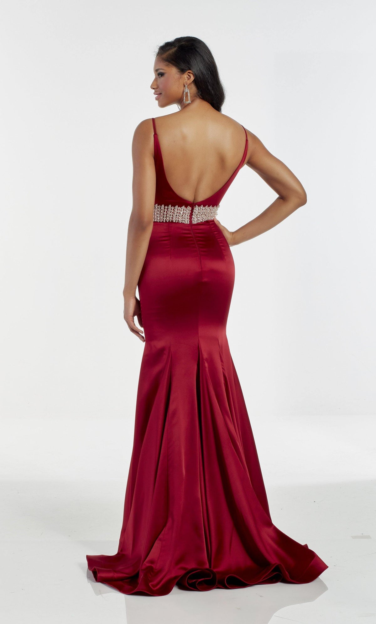 Red satin fit and flare wedding guest dress with a jewel embellished waistline and train