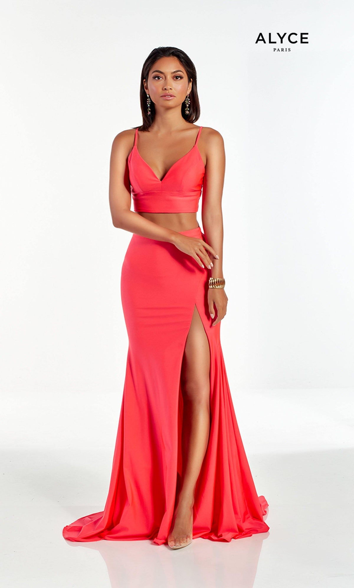 Watermelon Red two piece prom dress with a V neckline and front slit