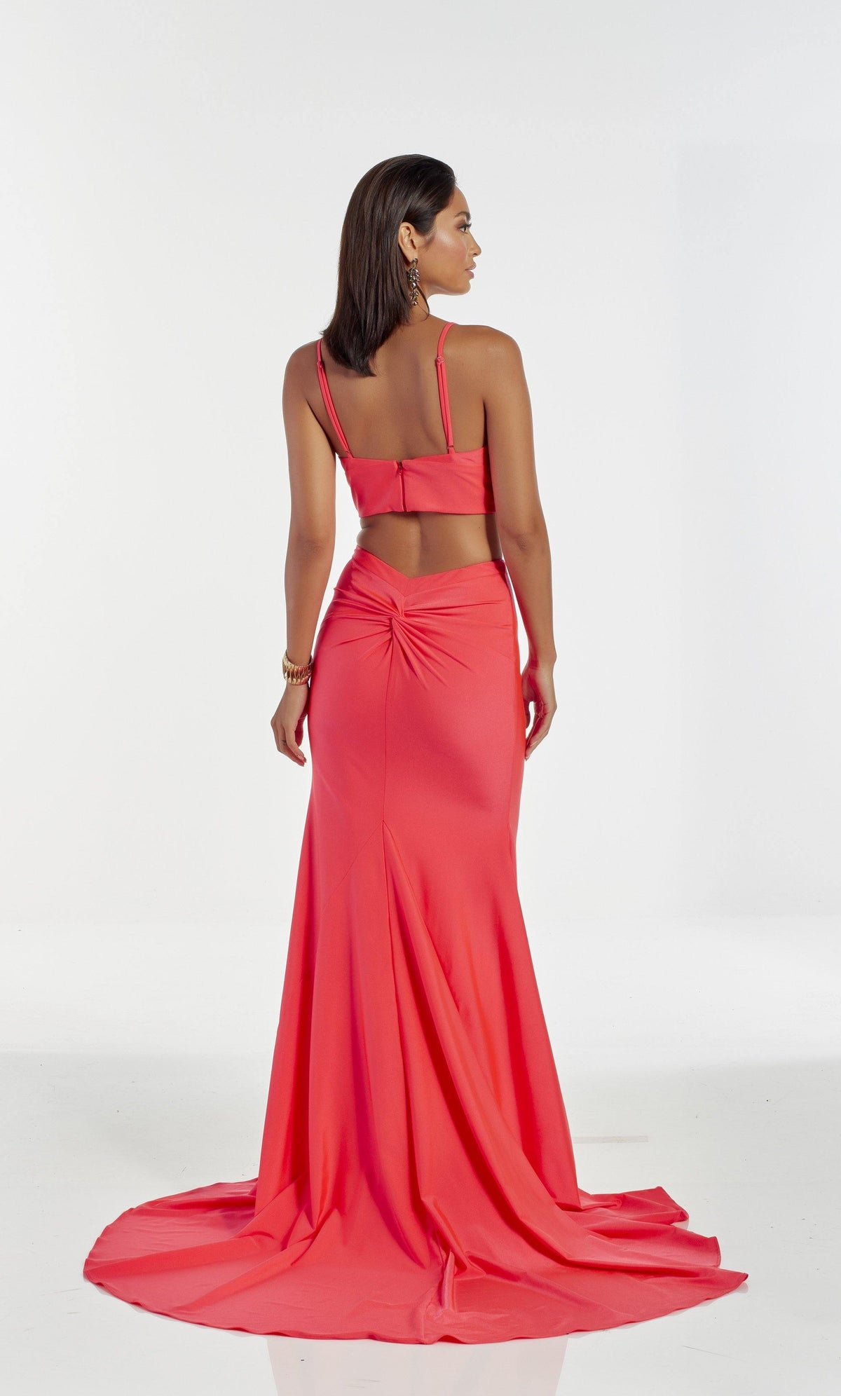 Watermelon Red two piece prom dress with knotted back detail and train