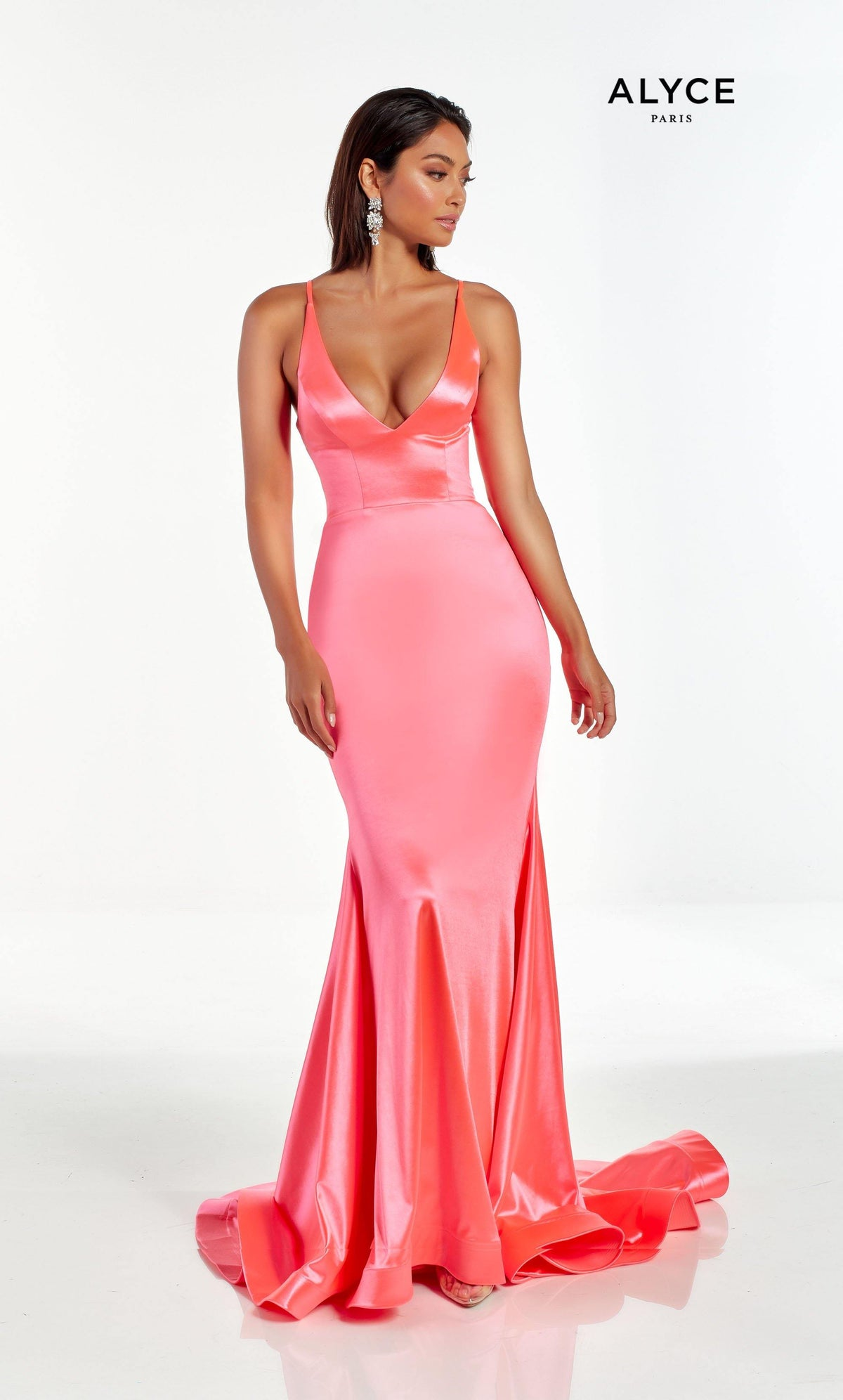 Pink stretch satin prom dress with a plunging neckline