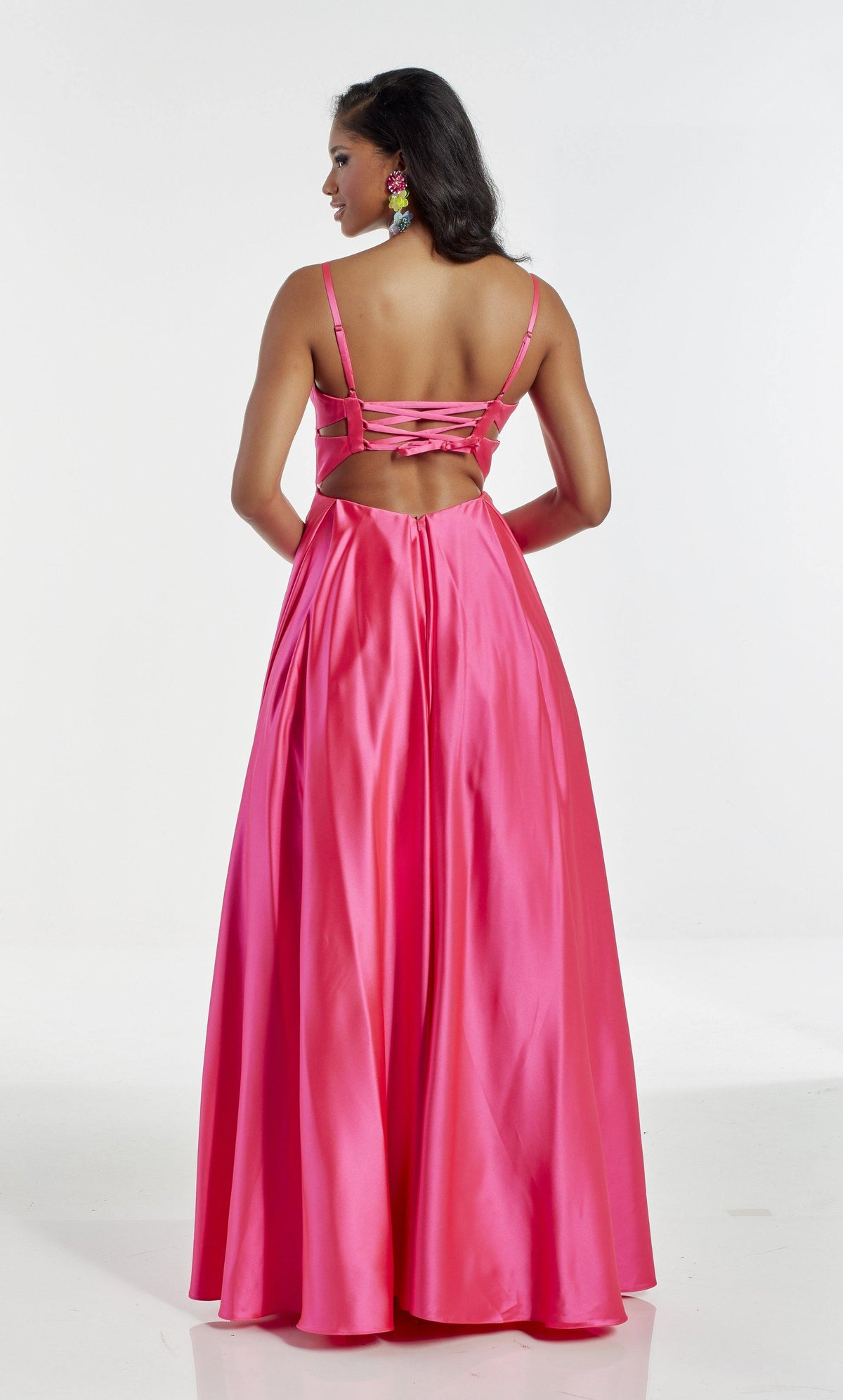 Barbie Pink wedding guest dress with a strappy back and adjustable straps