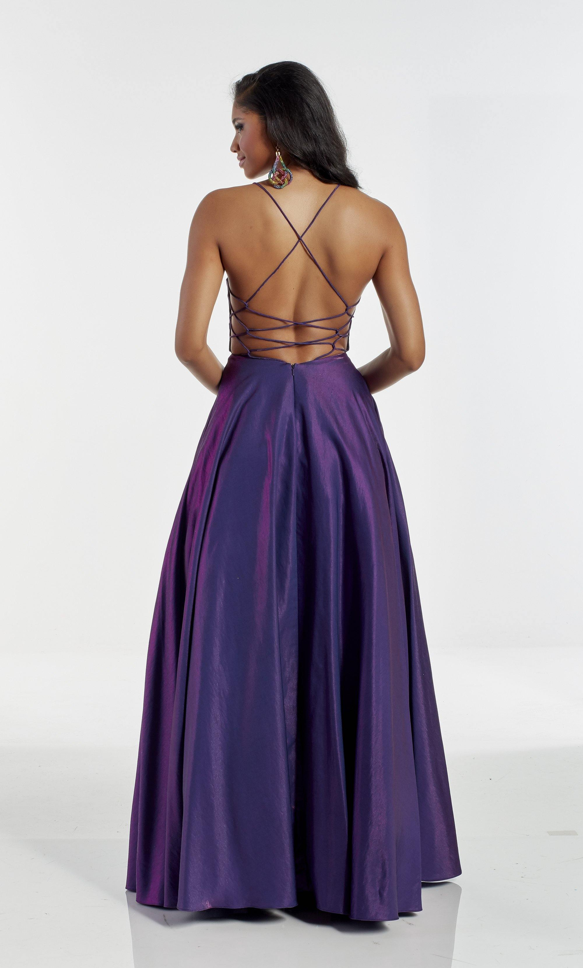 Bright purple A line prom dress with a V shaped neckline