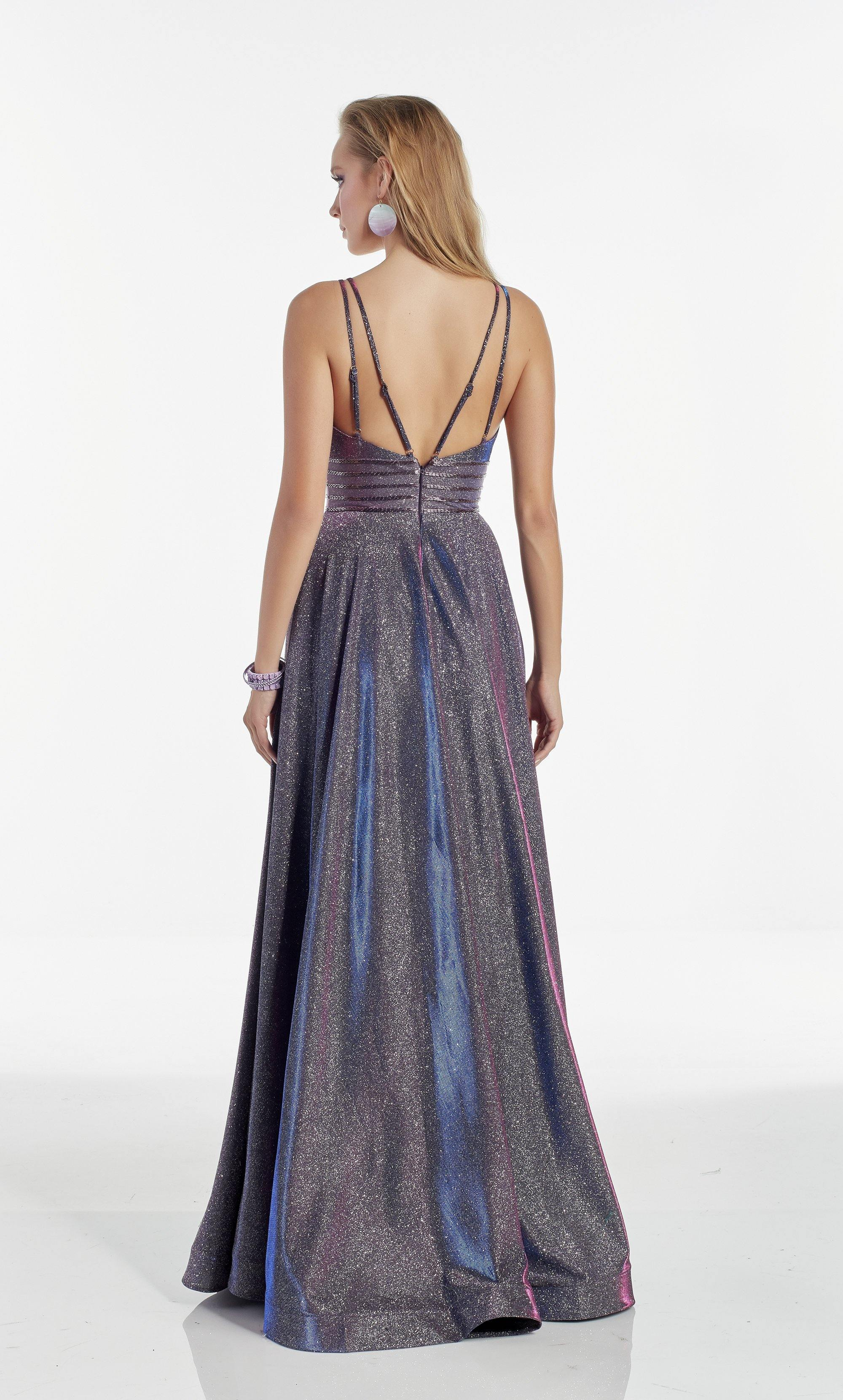 Iridescent Blue formal dress with a plunging neckline and beaded waist