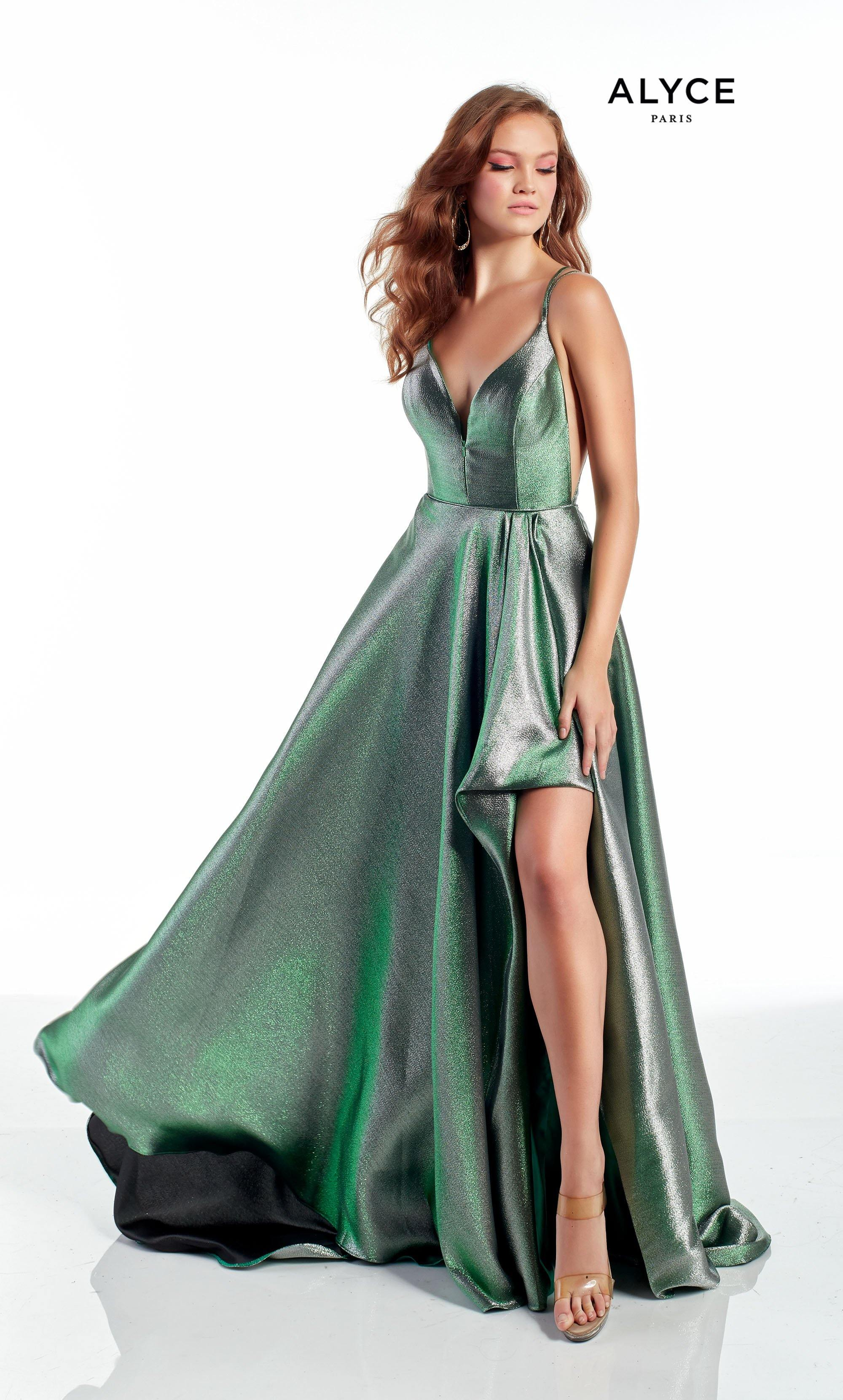 Emerald high-low prom dress with an adjustable plunging neckline