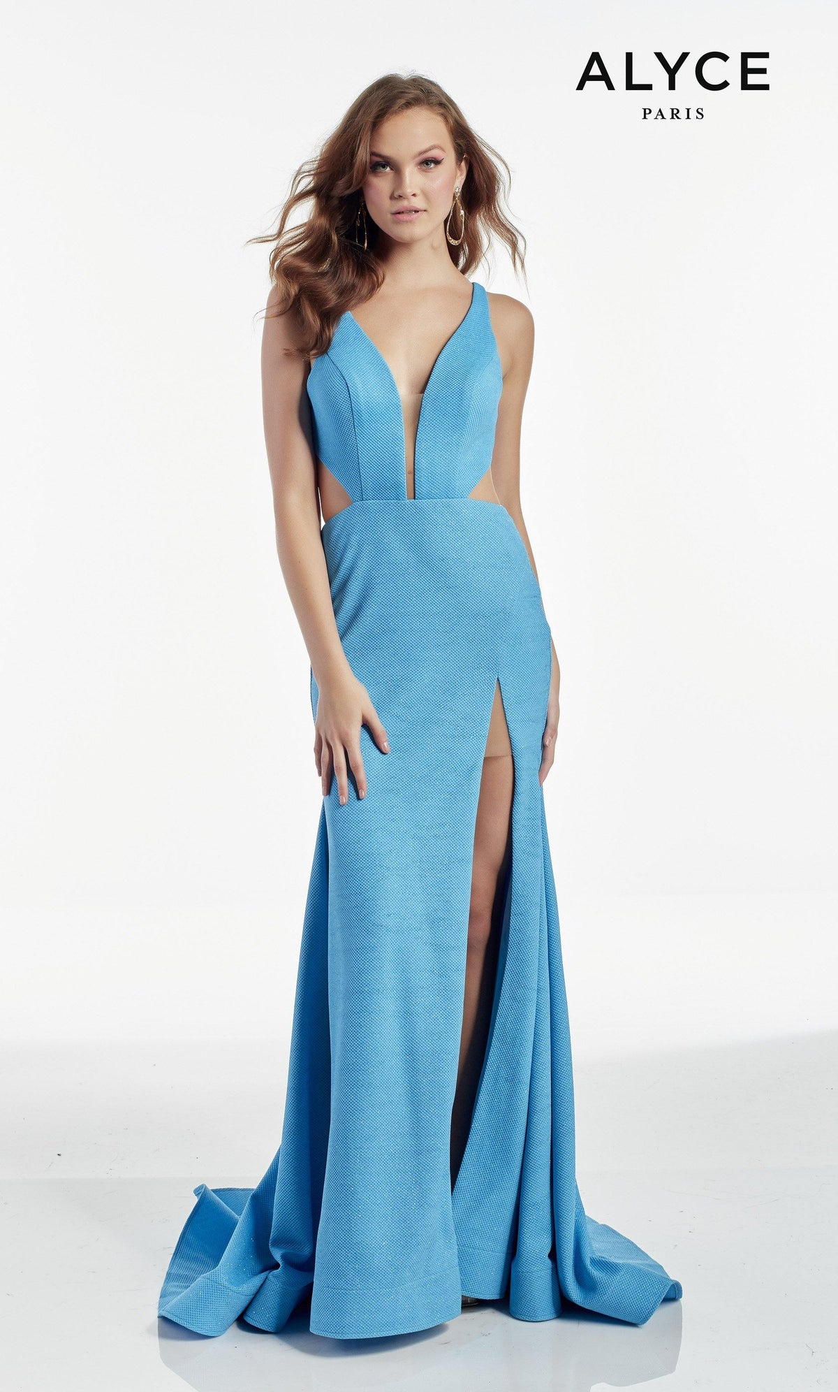 Ocean Blue wedding guest dress with a plunging neckline and a front slit