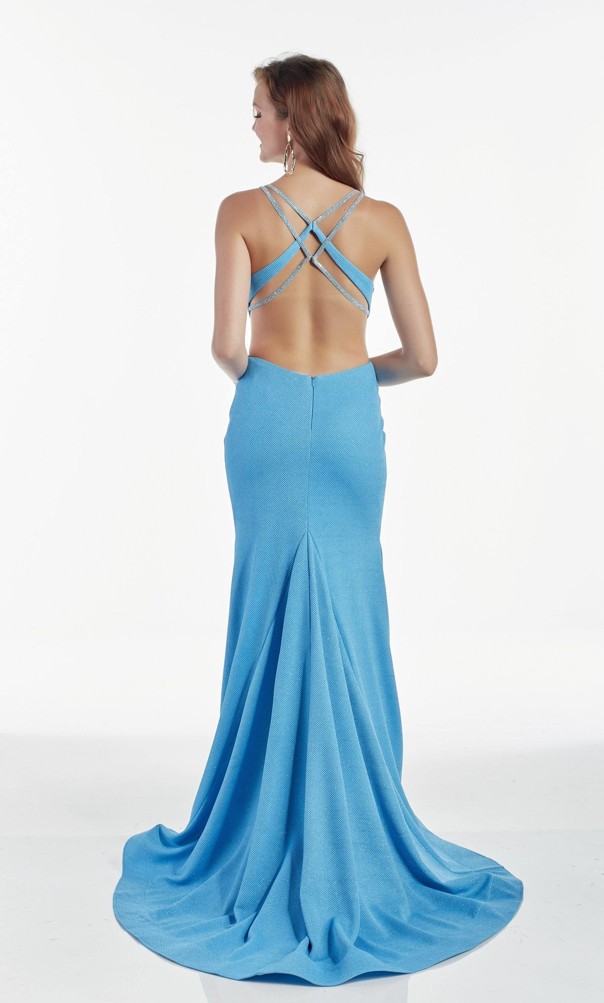 Ocean Blue wedding guest dress with a strappy open back and train