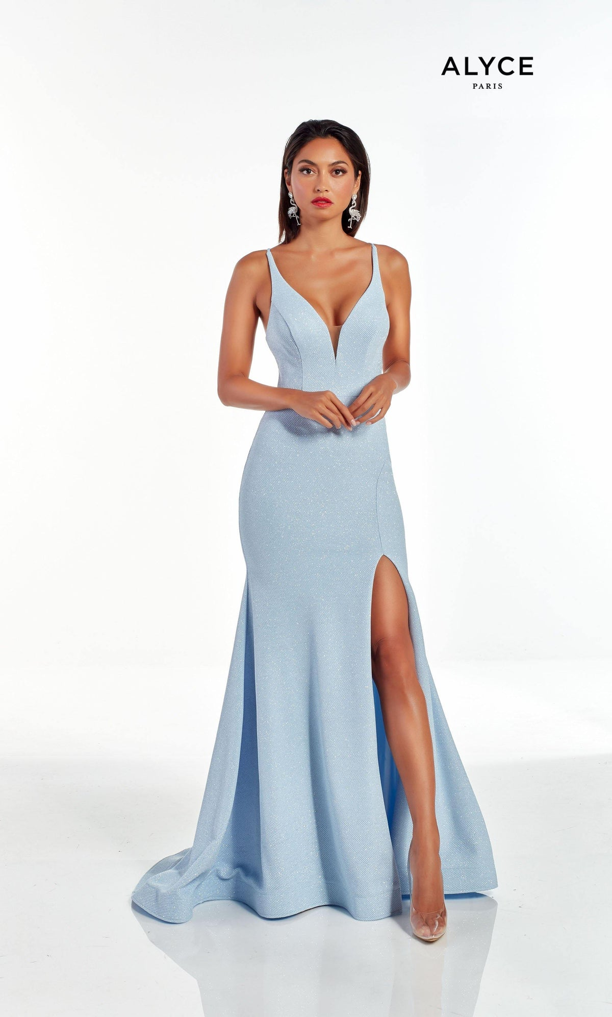 Glacier Blue prom dress with a plunging neckline and front slit