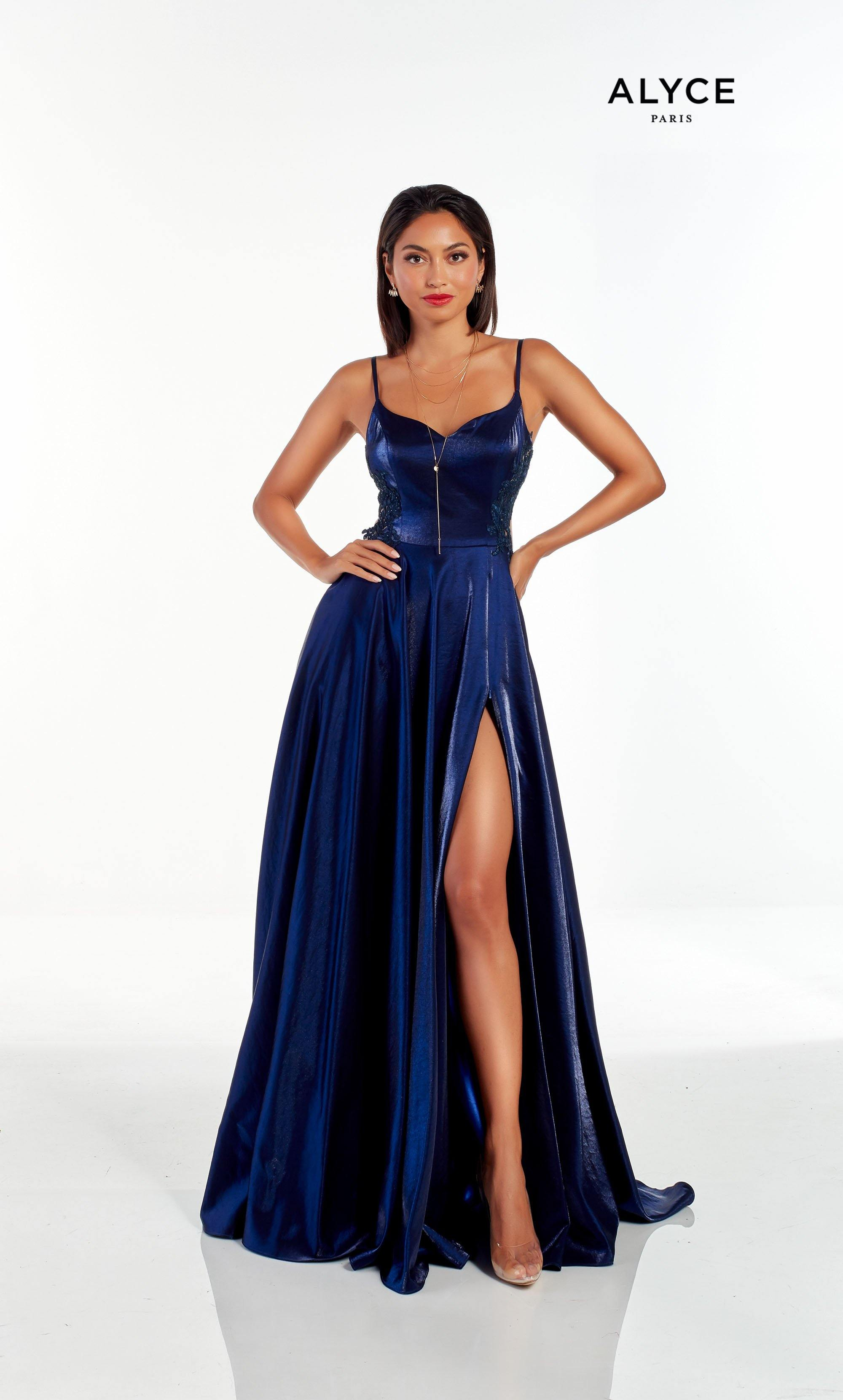 Midnight Blue prom dress with a sweetheart neckline and adjustable front slit