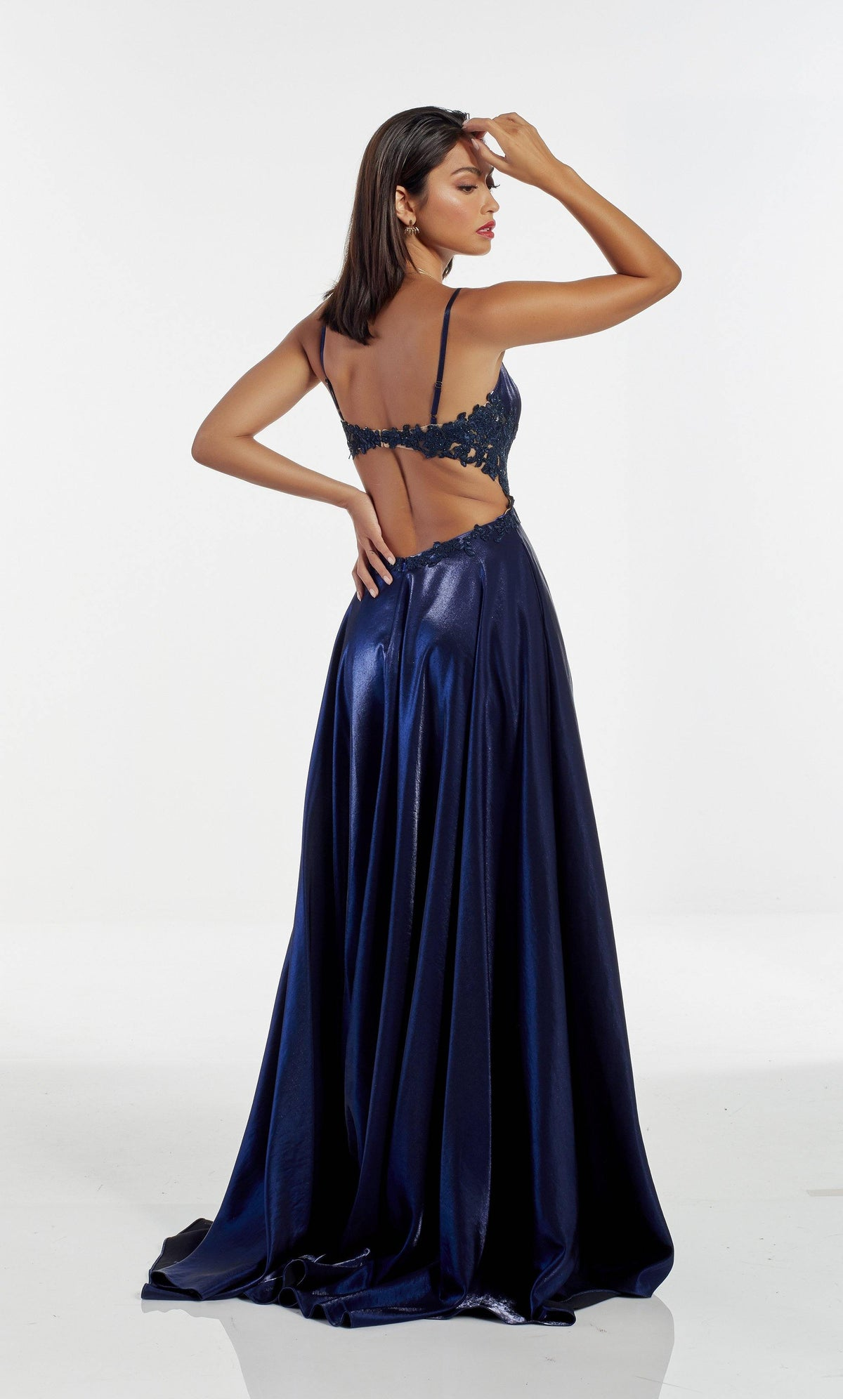 Midnight Blue prom dress with a keyhole back, lace side detail and train