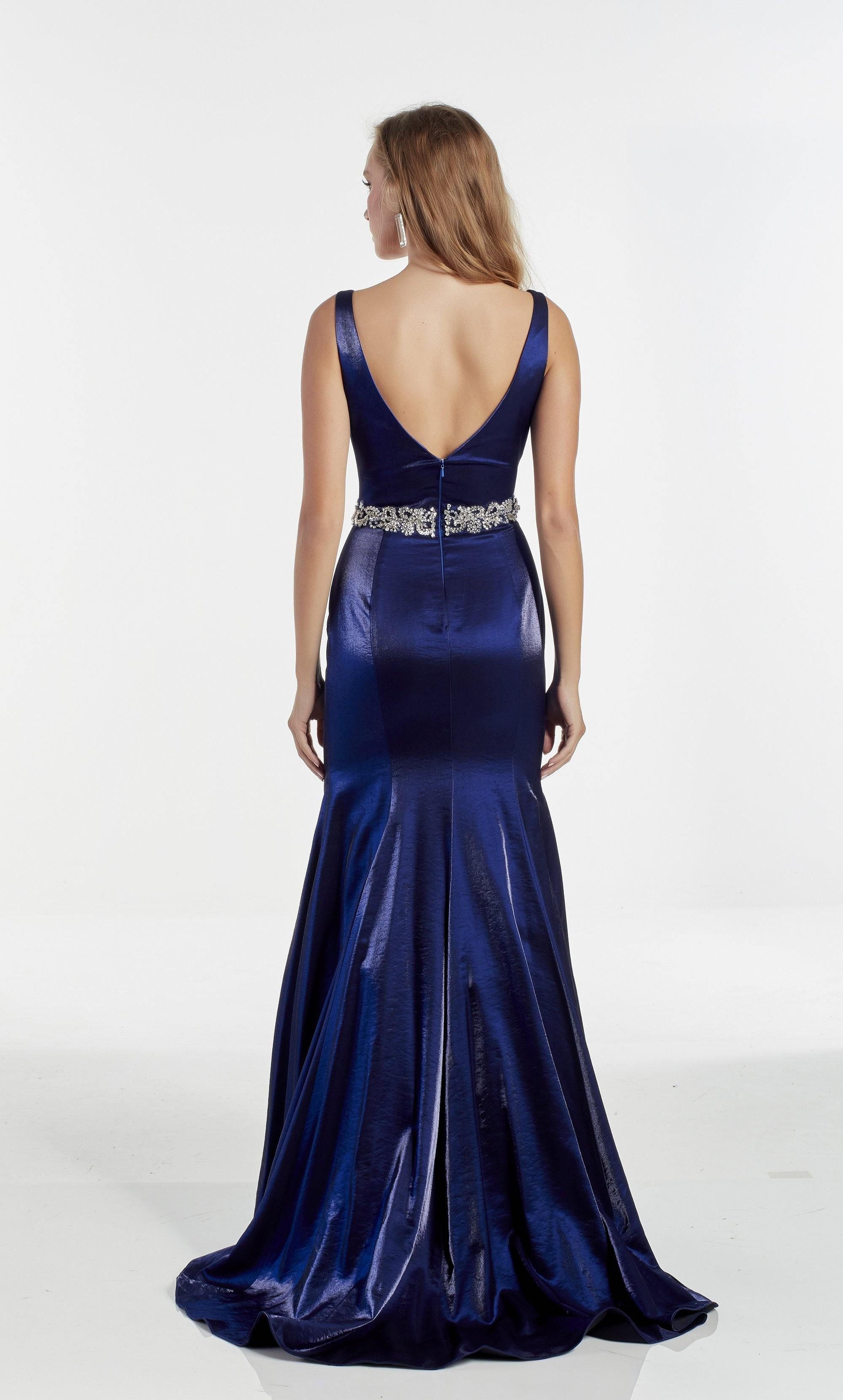 Navy shimmer satin formal dress with a V neckline and jewel embellished waistline