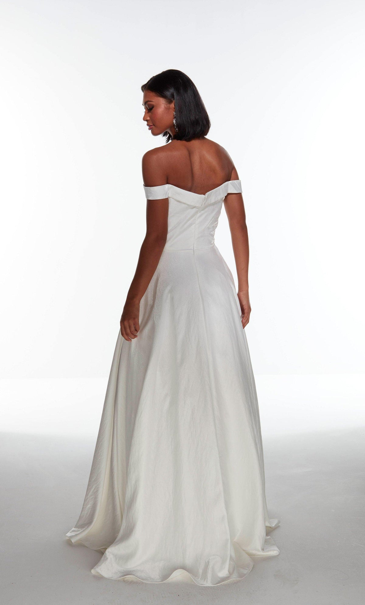 Diamond White off the shoulder shimmer satin wedding dress with an enclosed back and train