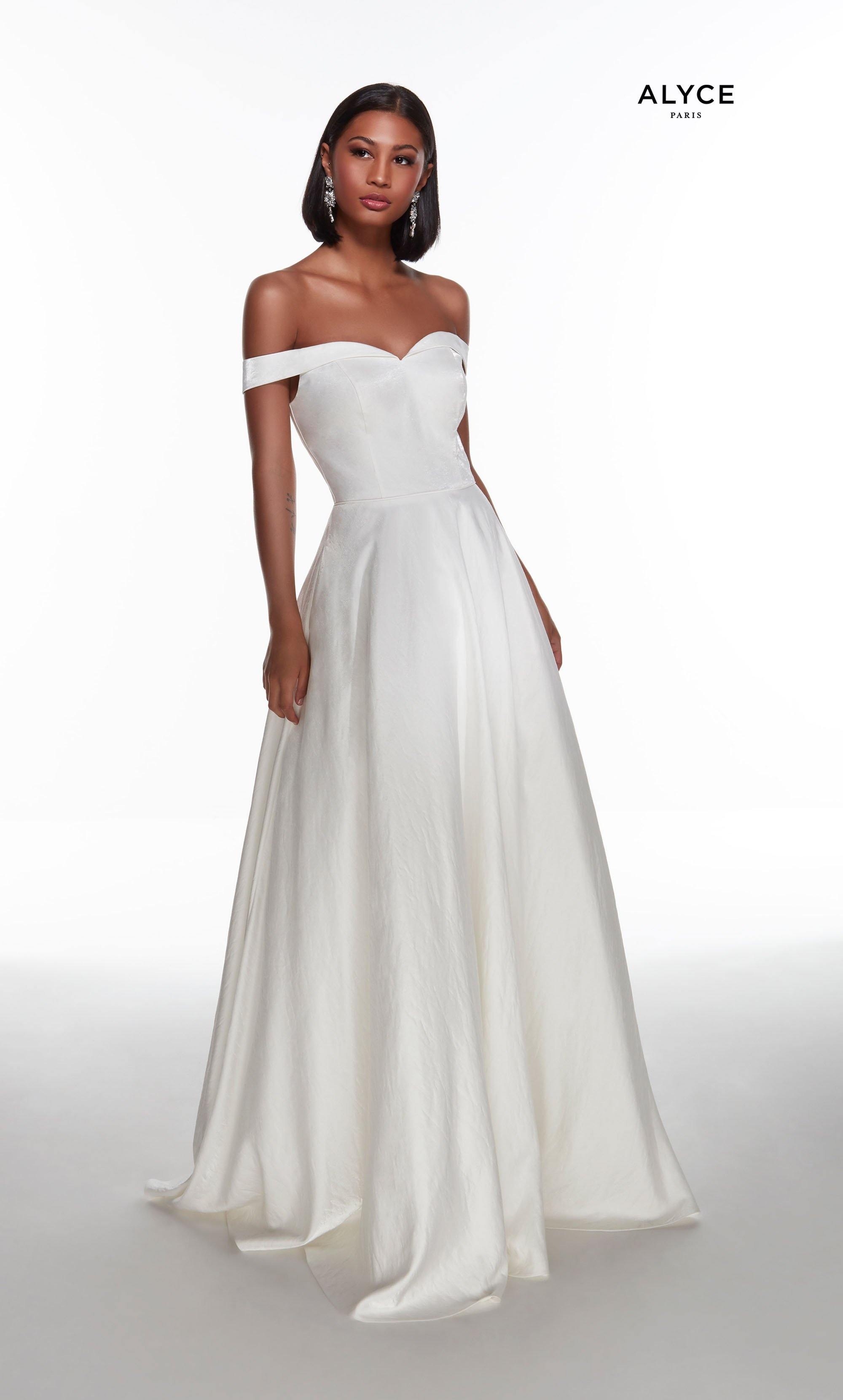 Diamond white off the shoulder shimmer satin wedding dress