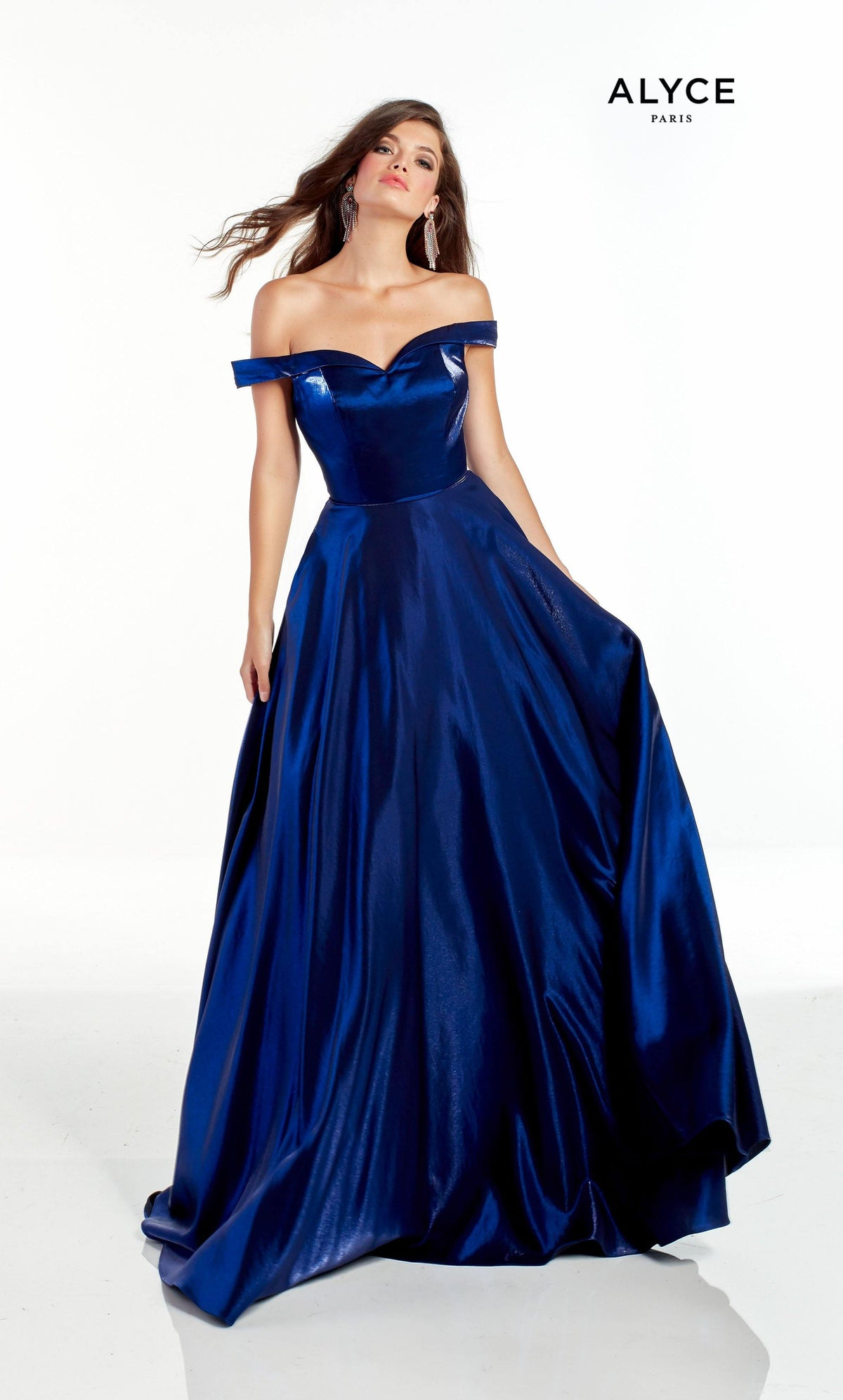 Navy off the shoulder shimmer satin prom dress